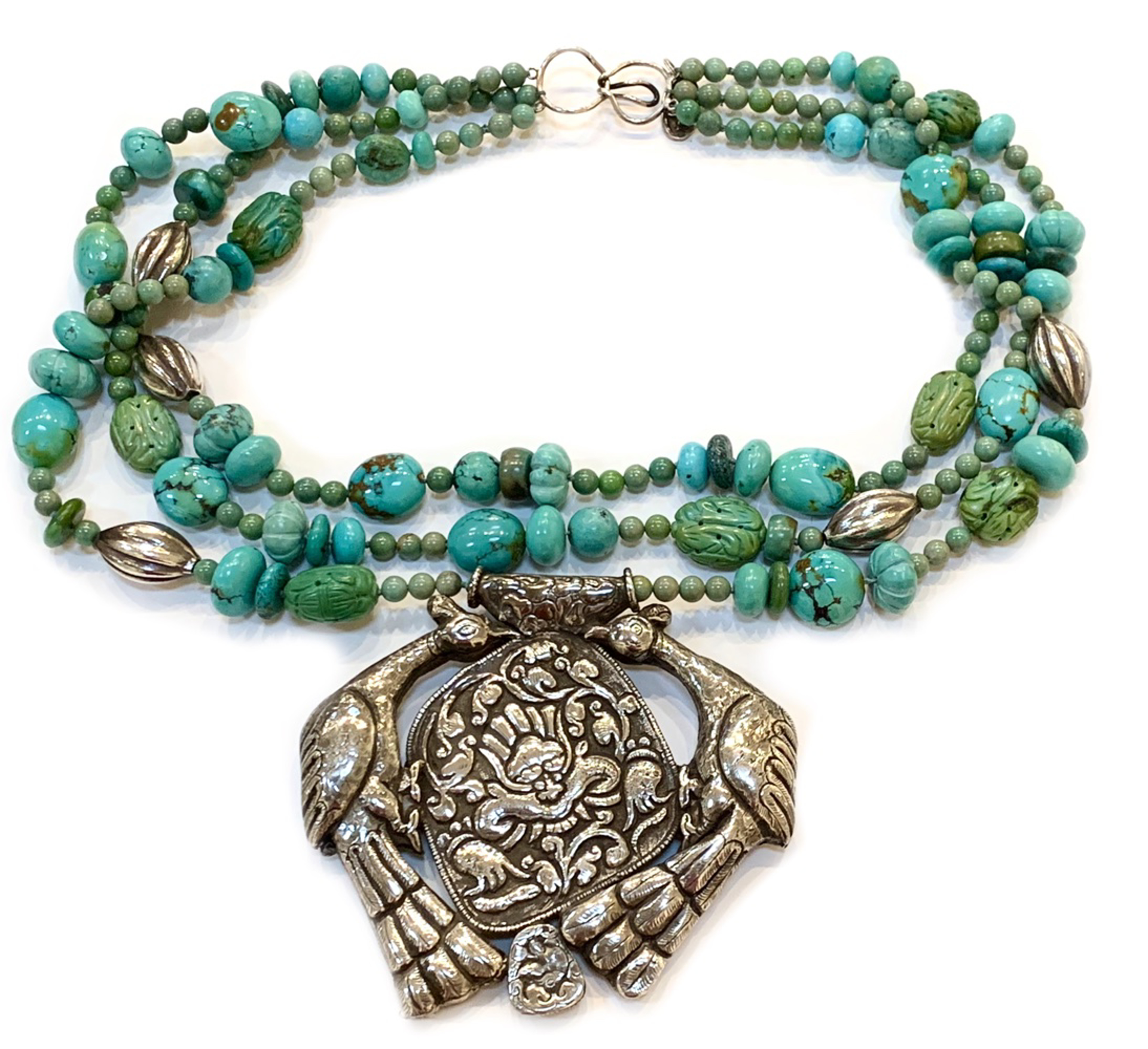 PP1 - 3 Strand necklace w Turquoise, Sterling, melon, Pendent from Tibet by Kim Yubeta