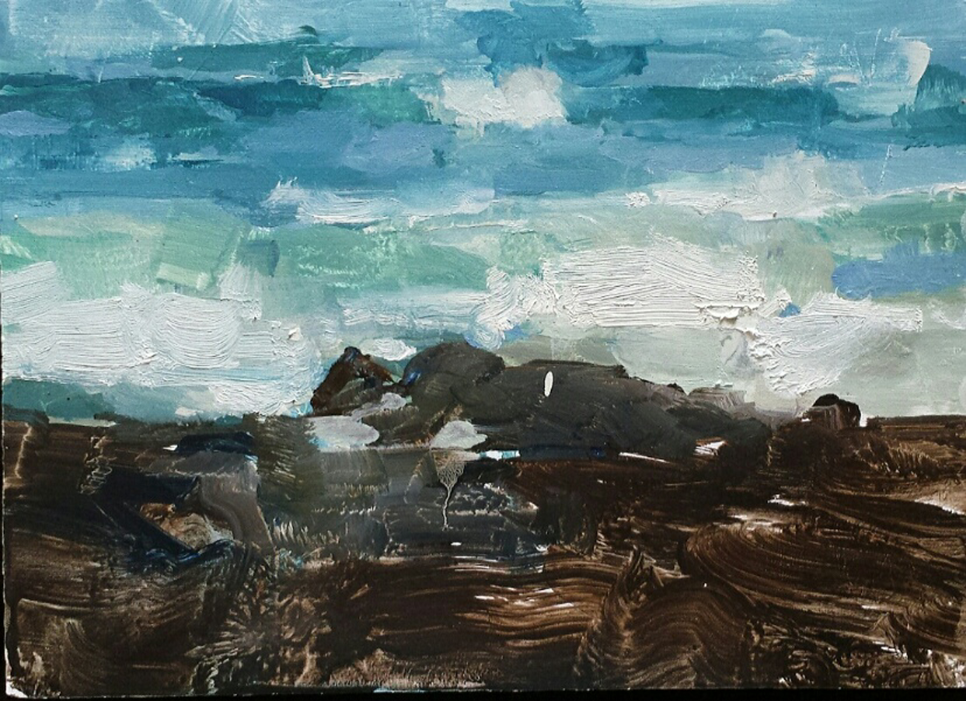 Kona Wave (plein air) by James Kroner