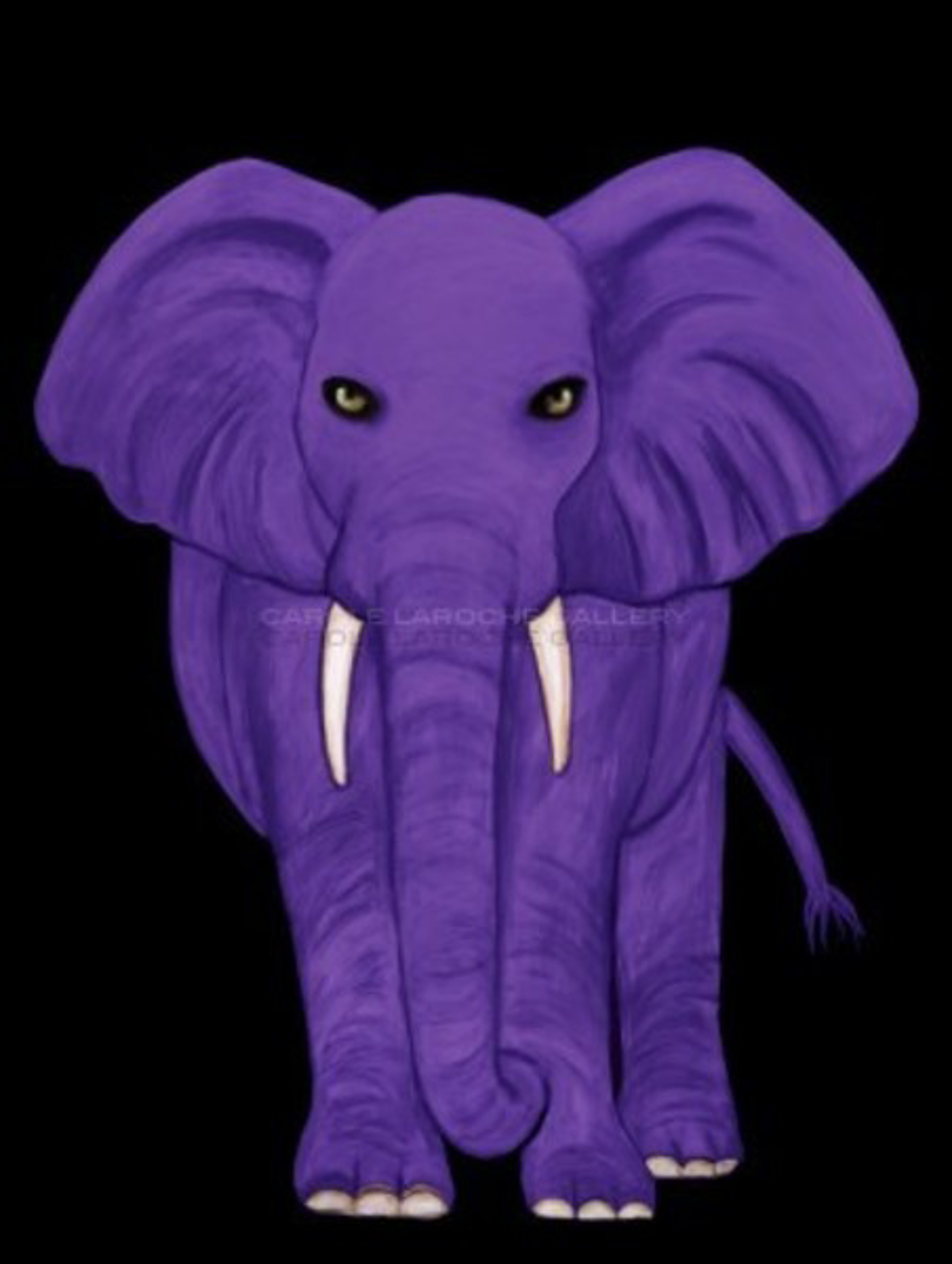 "PURPLE ELEPHANT - limited edition giclee on canvas 54""x40"" by Carole LaRoche"
