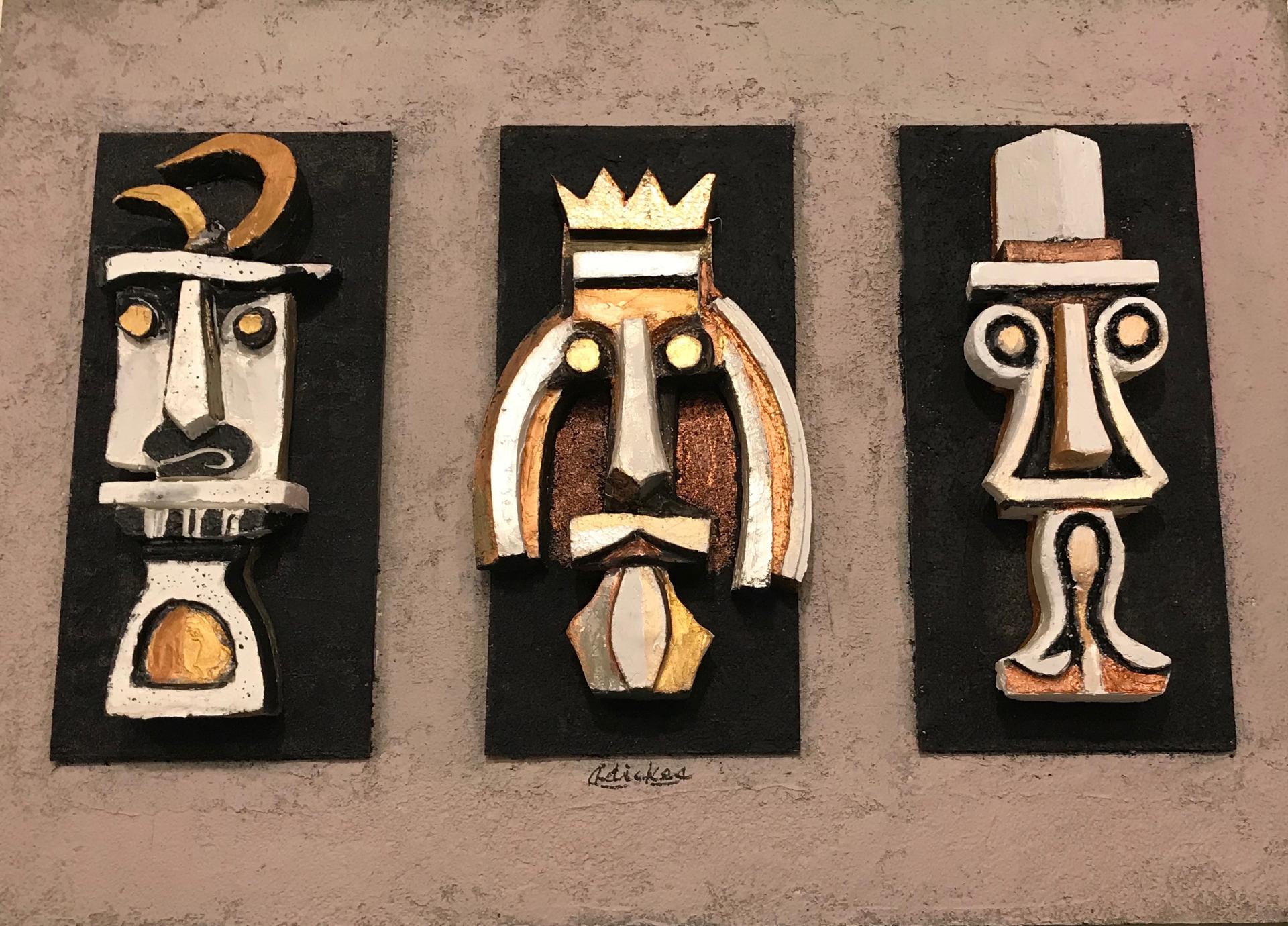 Three Wise Tikis  by David Adickes
