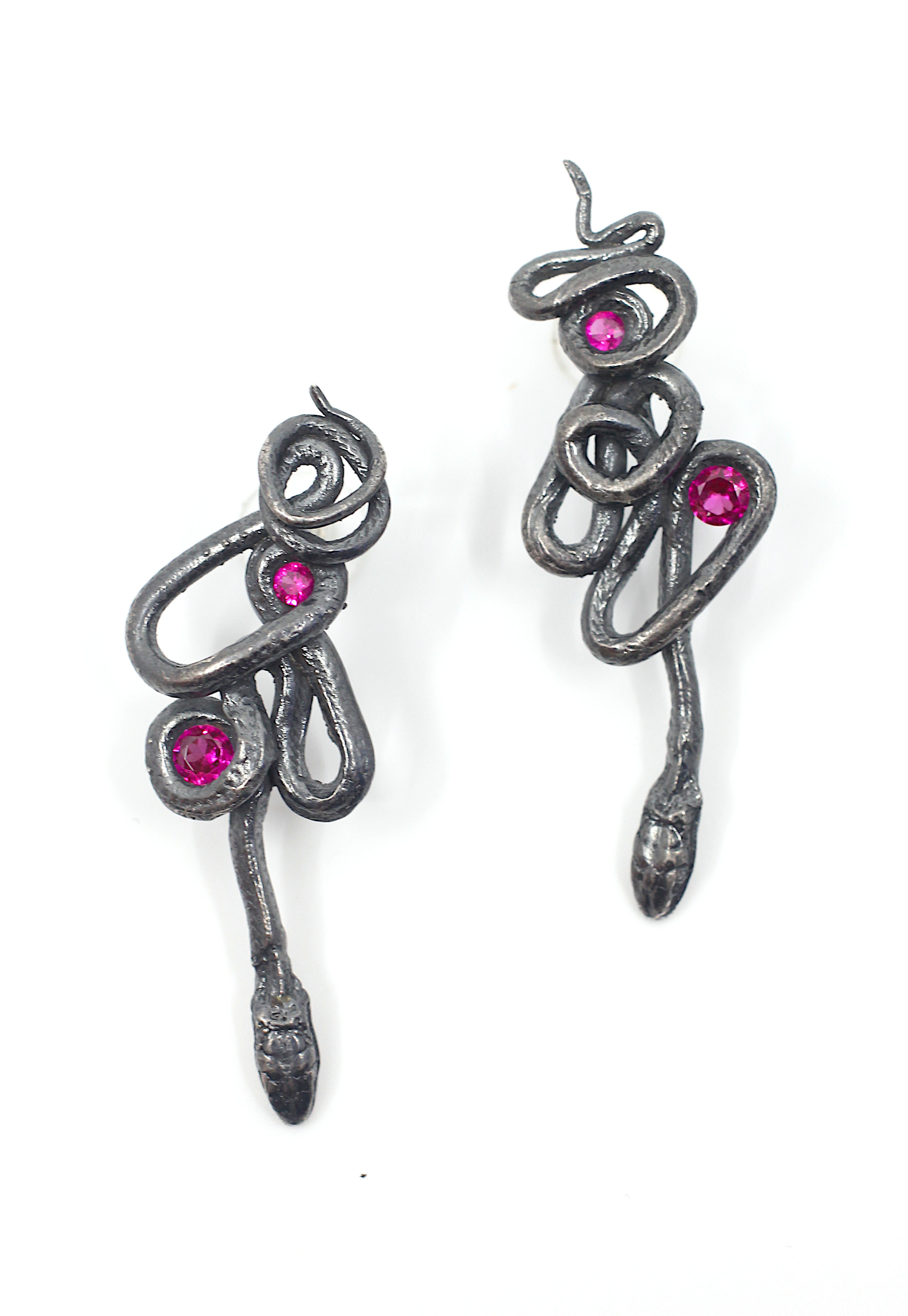 Ruby Serpentine Earrings (large) by Anna Johnson