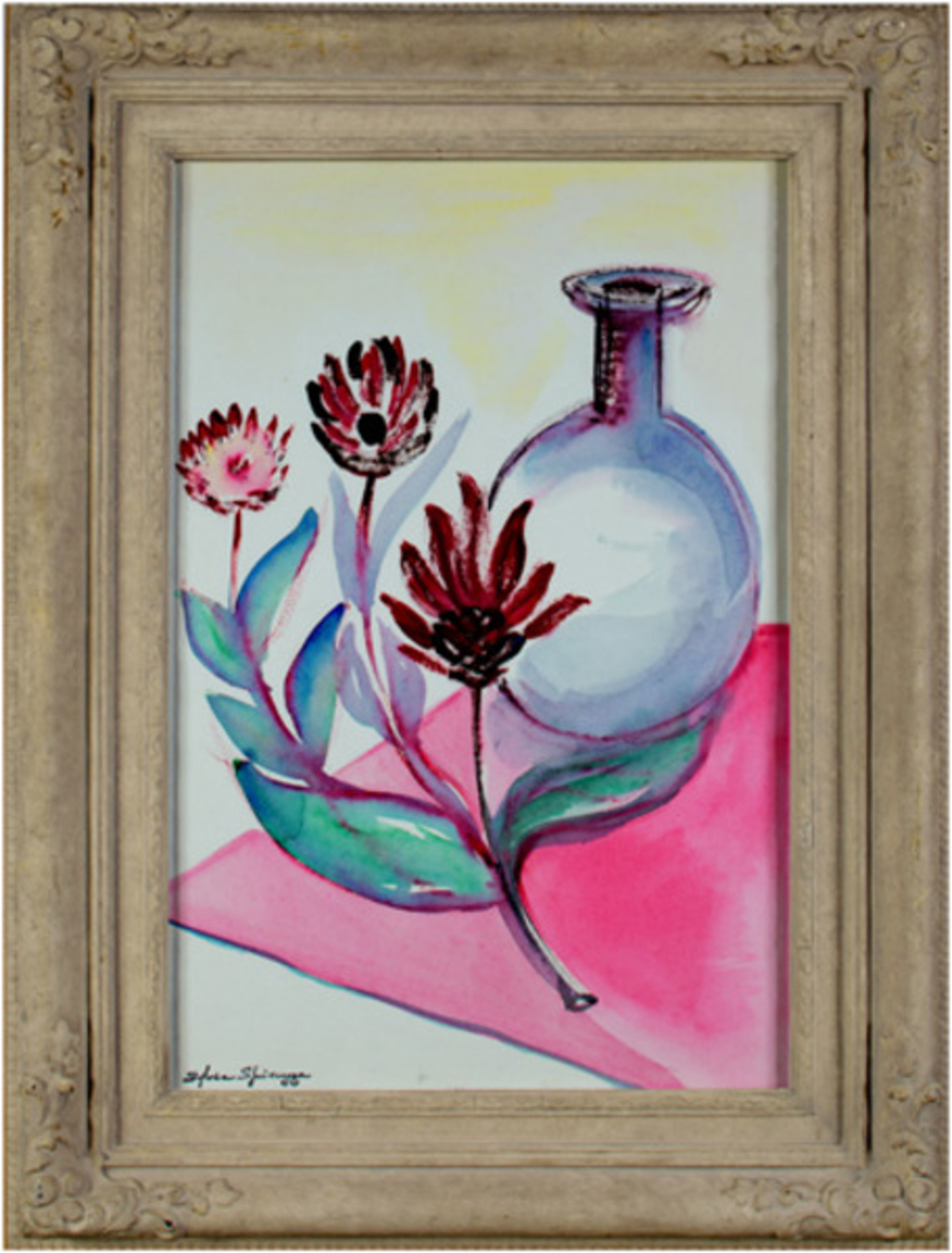 Glass Vase & Red Flowers on a Pink Tablecloth by Sylvia Spicuzza