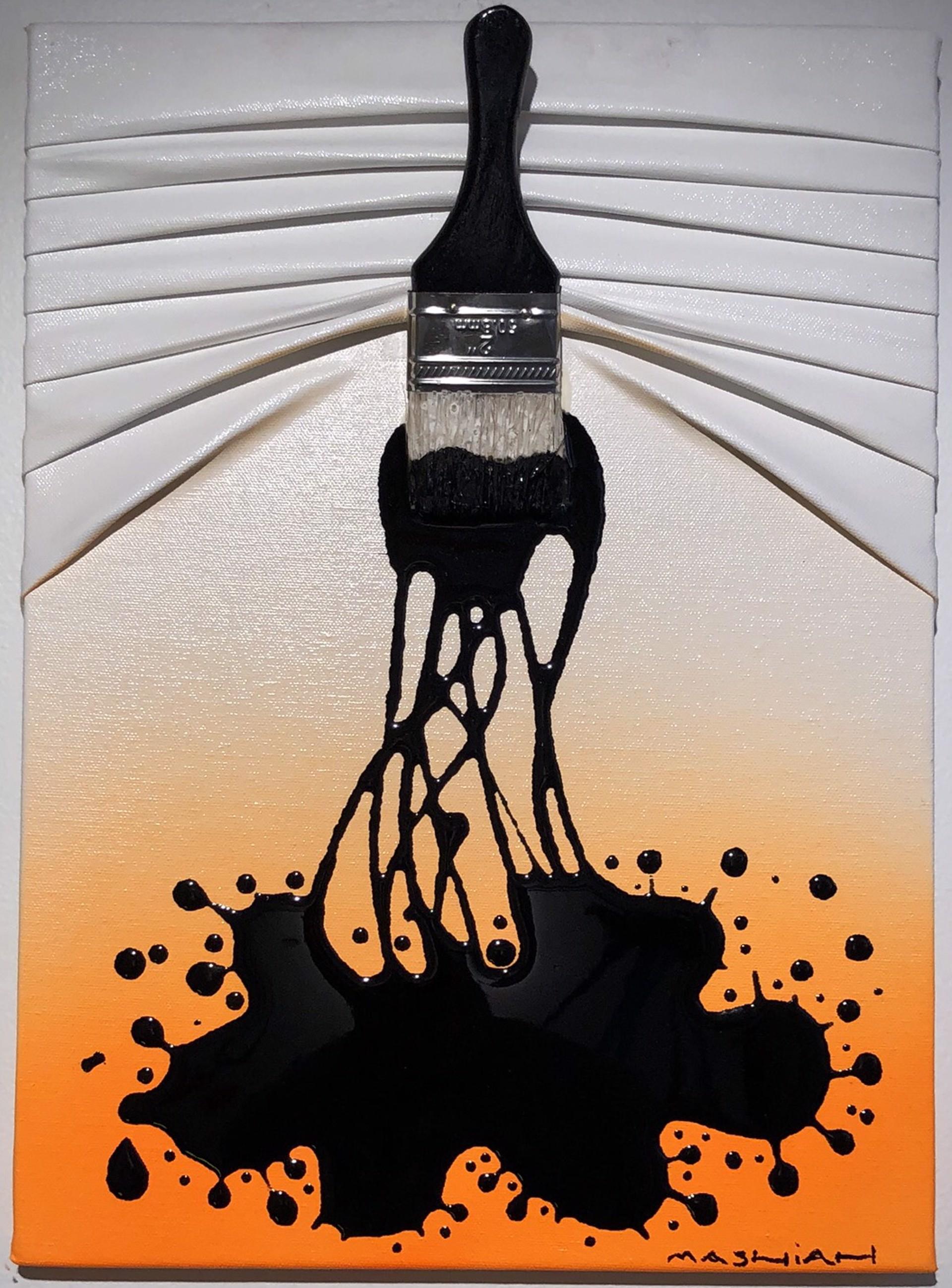 """Let's Paint"" mini, Black splash on White/Orange by Efi Mashiah"