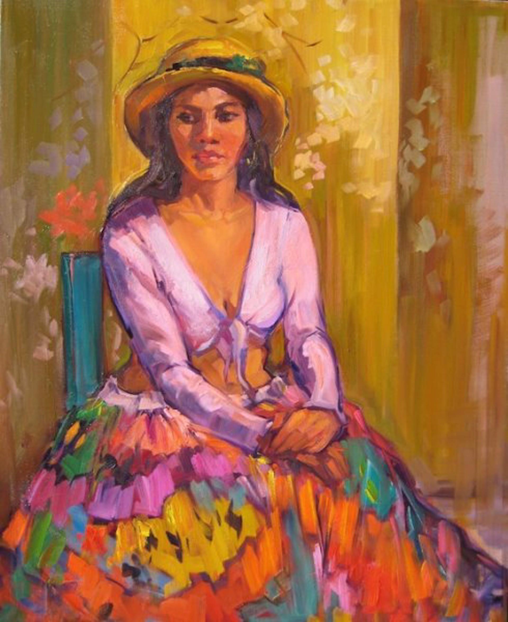 Maria Bertran: Girl With Straw Hat by Maria Bertrán