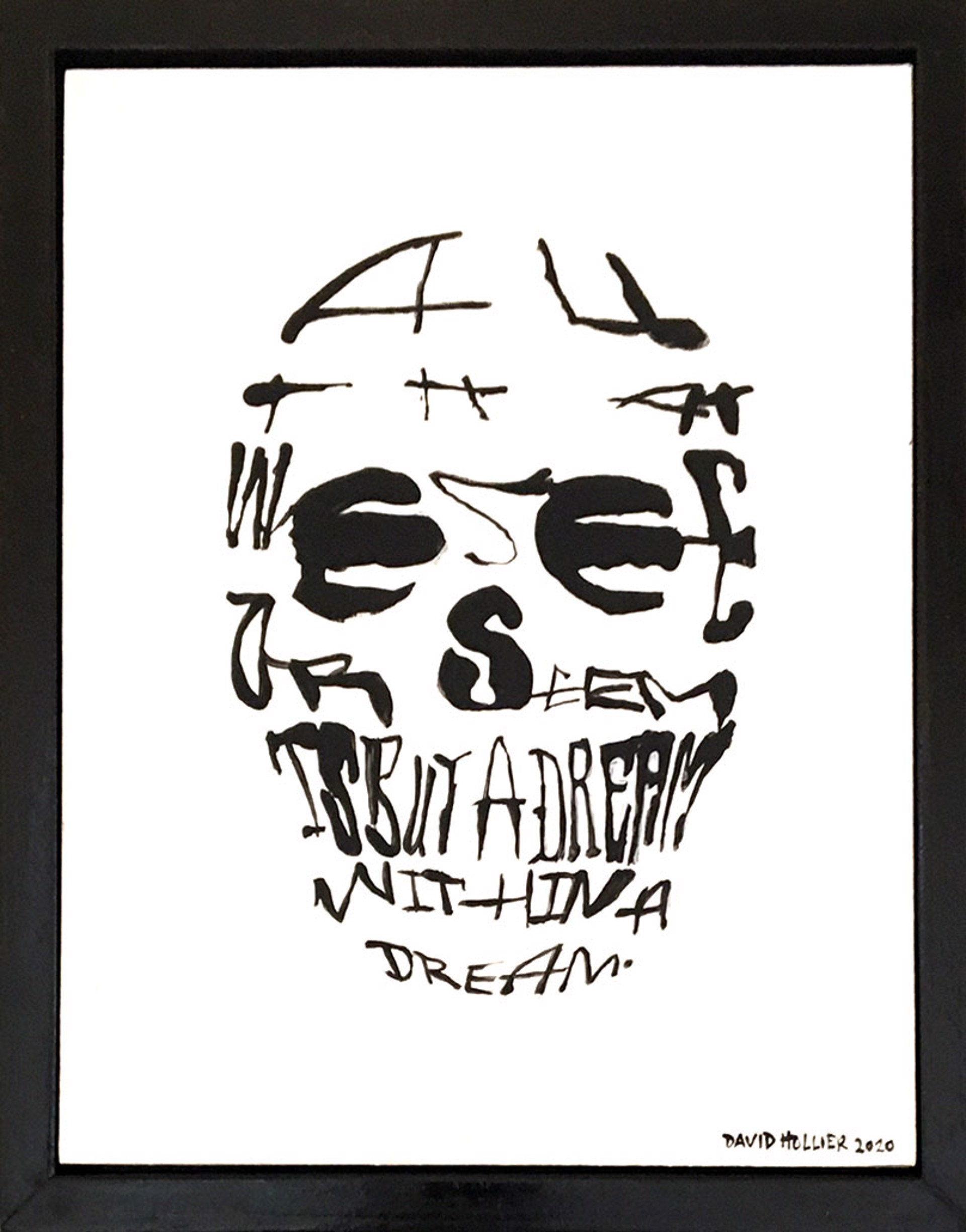 Poe's Skull - (Text: Edgar Allan Poe quote) by David Hollier
