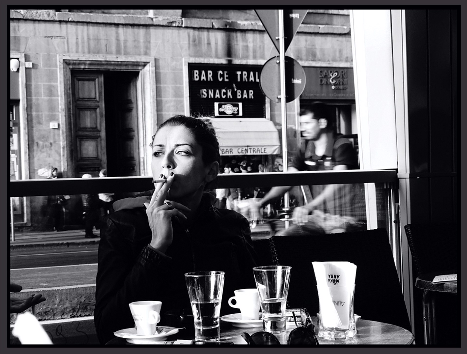 Young Woman in a Café, Florence by Stacy Widelitz