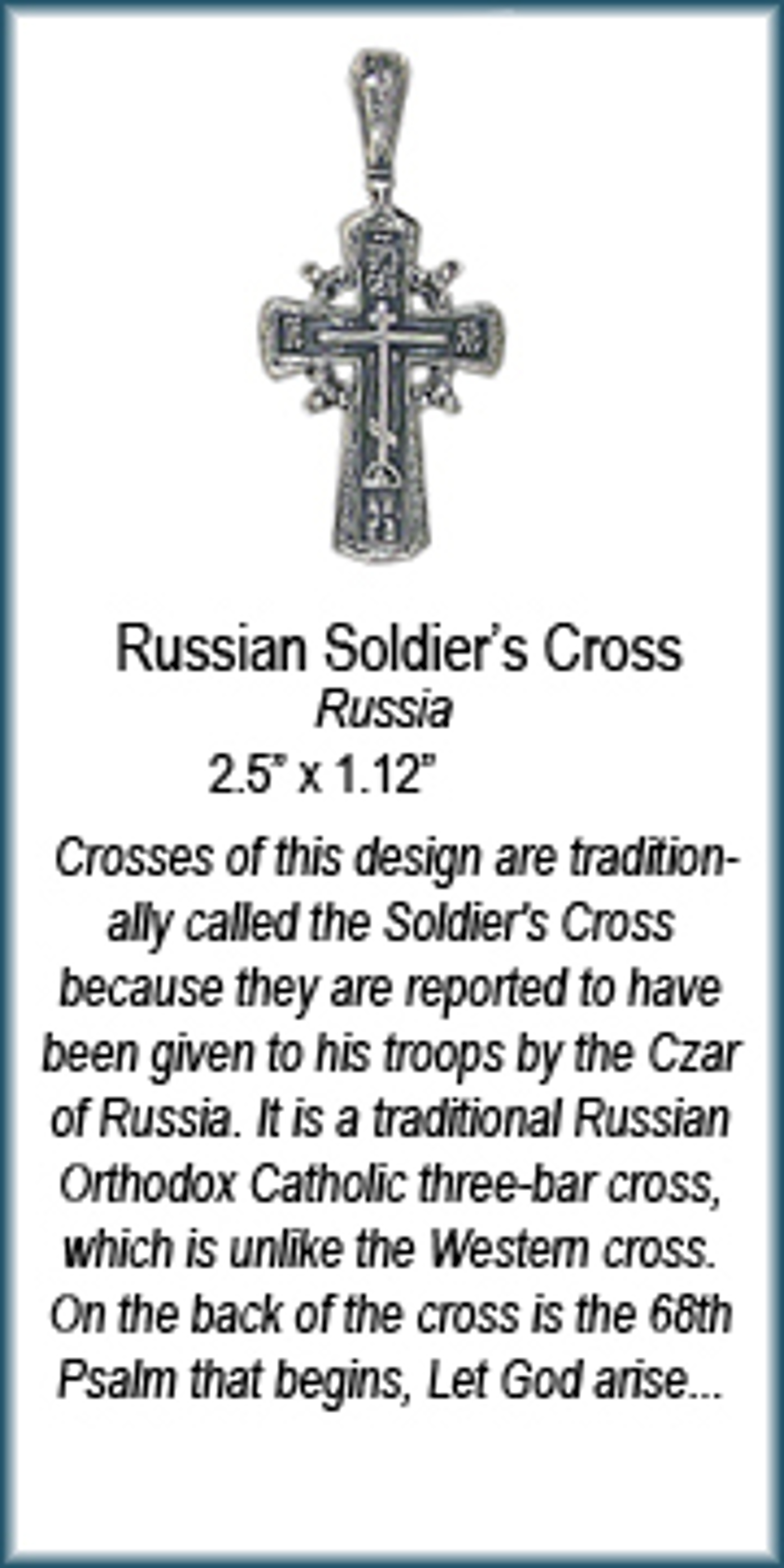 Pendant - Silver Russian Soldiers Cross  6940 by Deanne McKeown