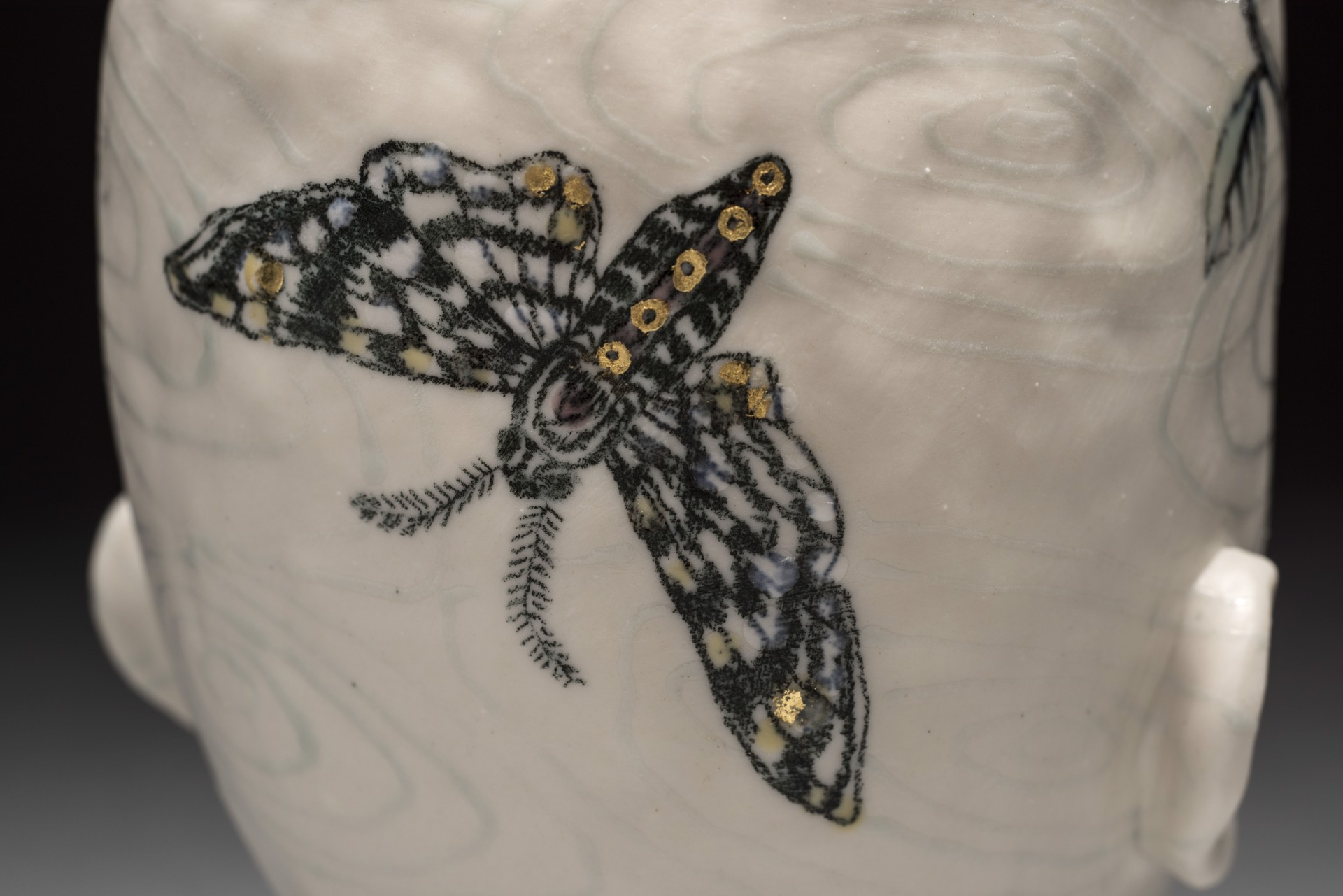 """Water Pattern Vase with Two Moths"" by Adrian Arleo"