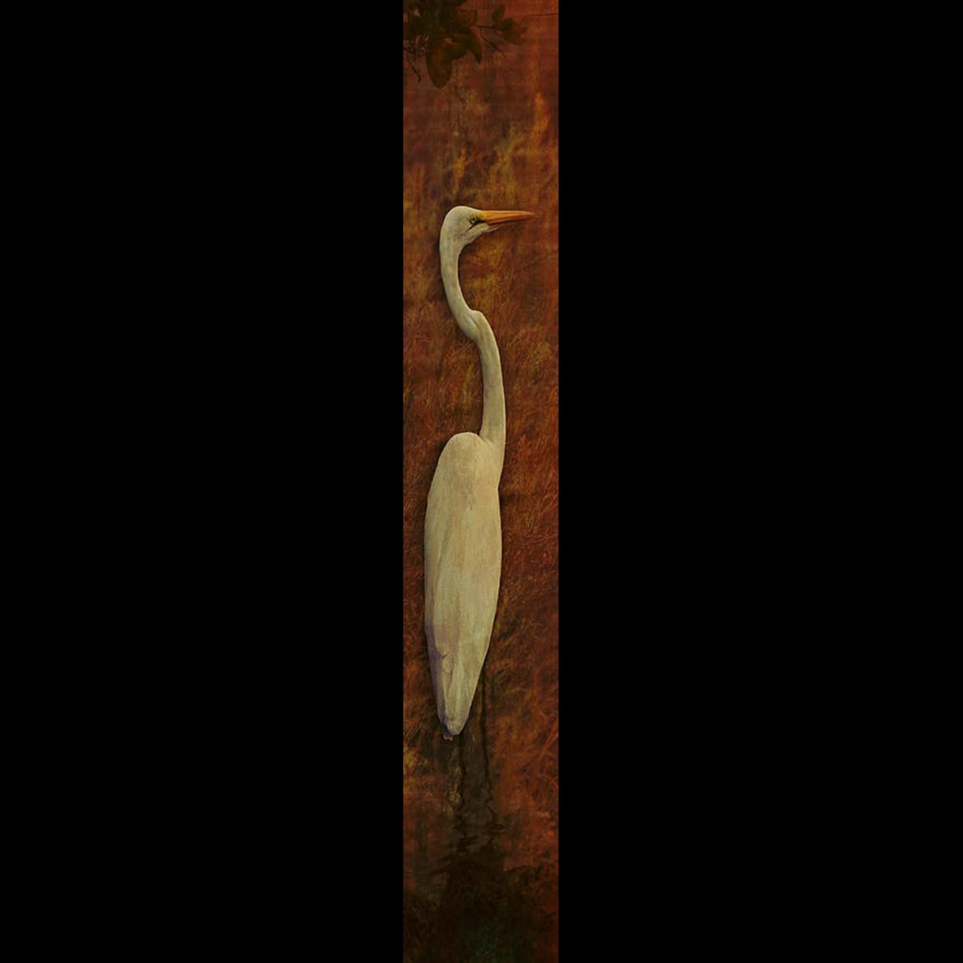 Solo Egret-Orange w/Gold Frame by Bob Coates