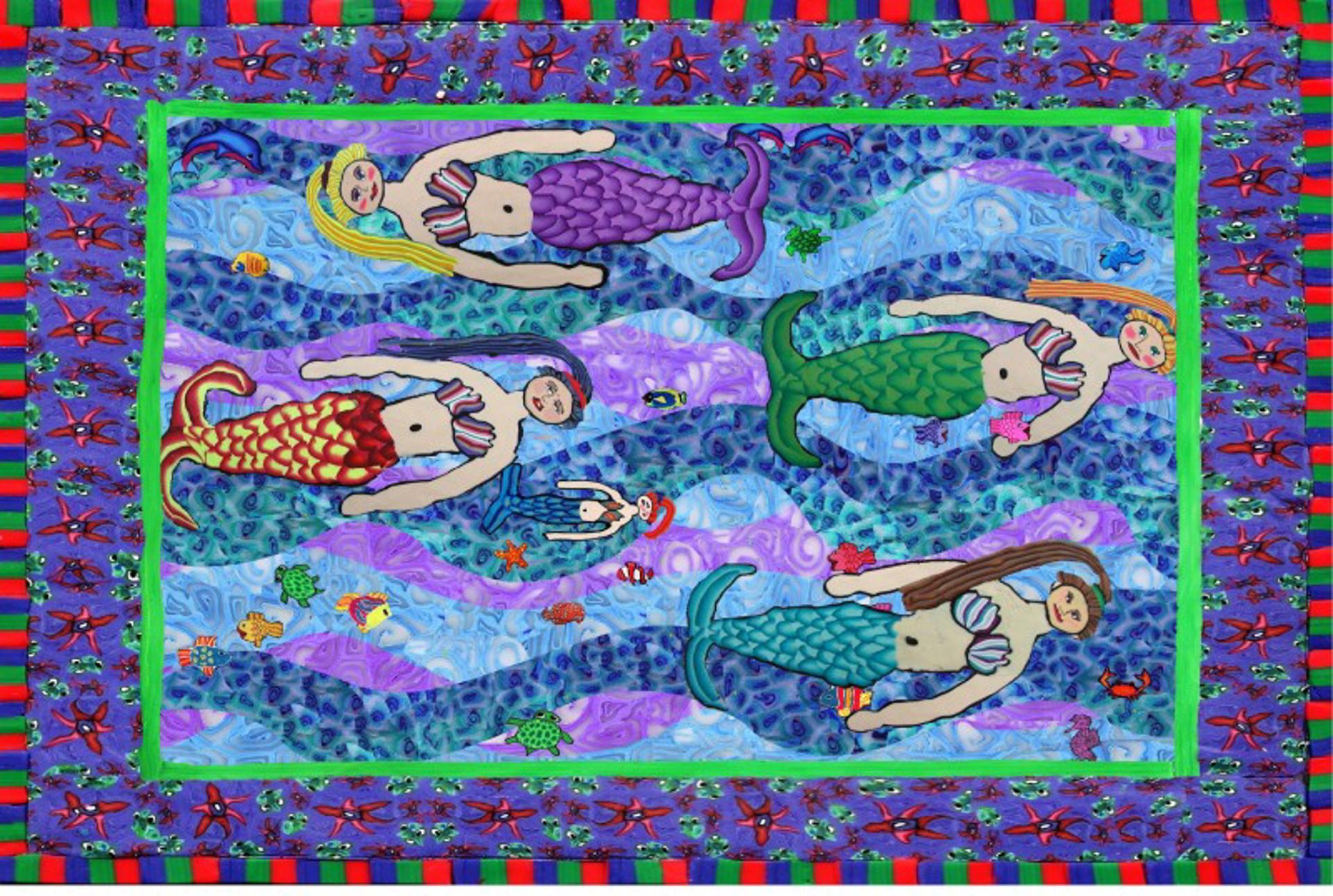 Swimming Mermaids by Samantha Long - Prints