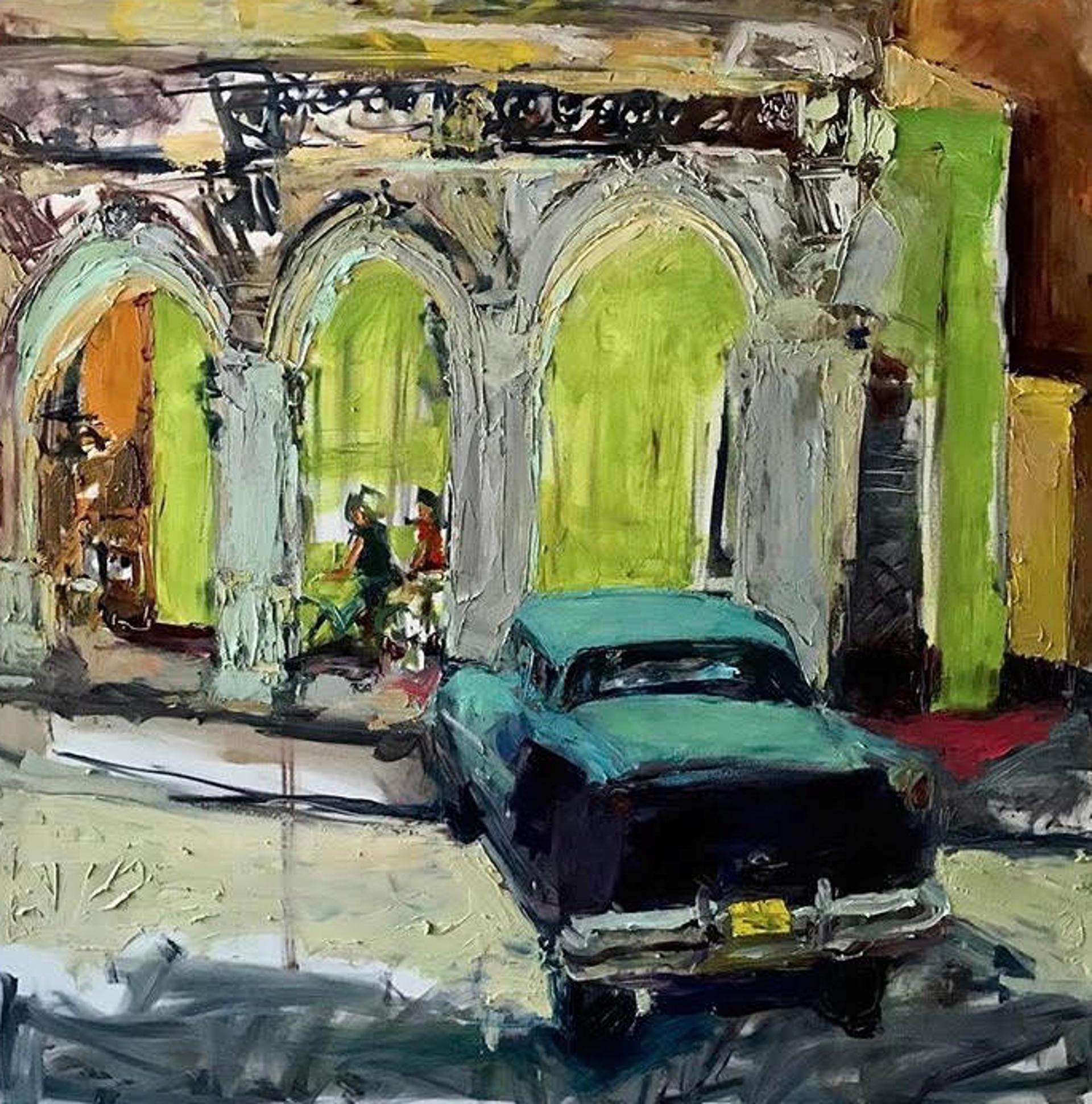 La Vida Cuba - Car on Green Street Corner by Ana Guzman