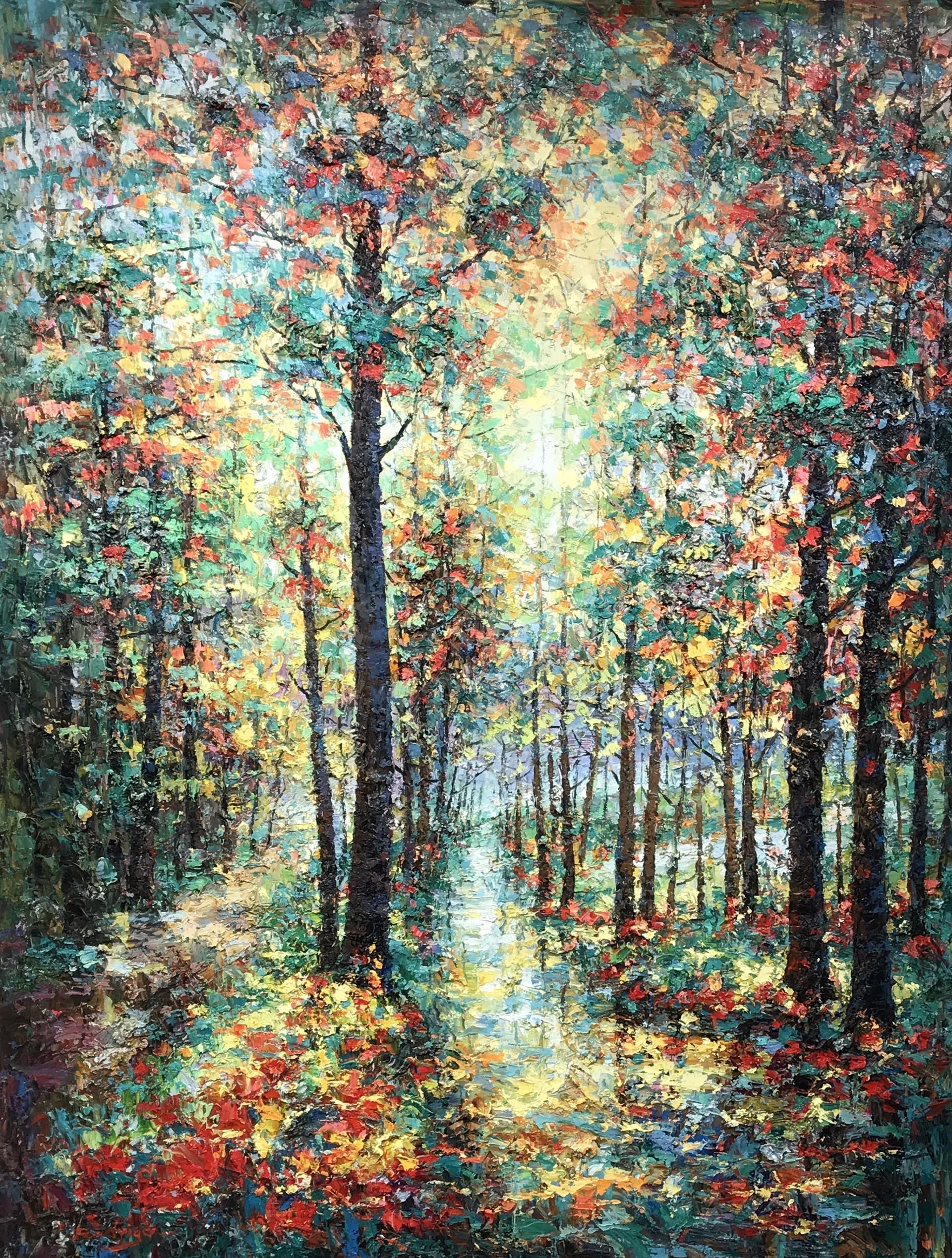 DARK TREES WITH BLUE PATH by RODRIGO
