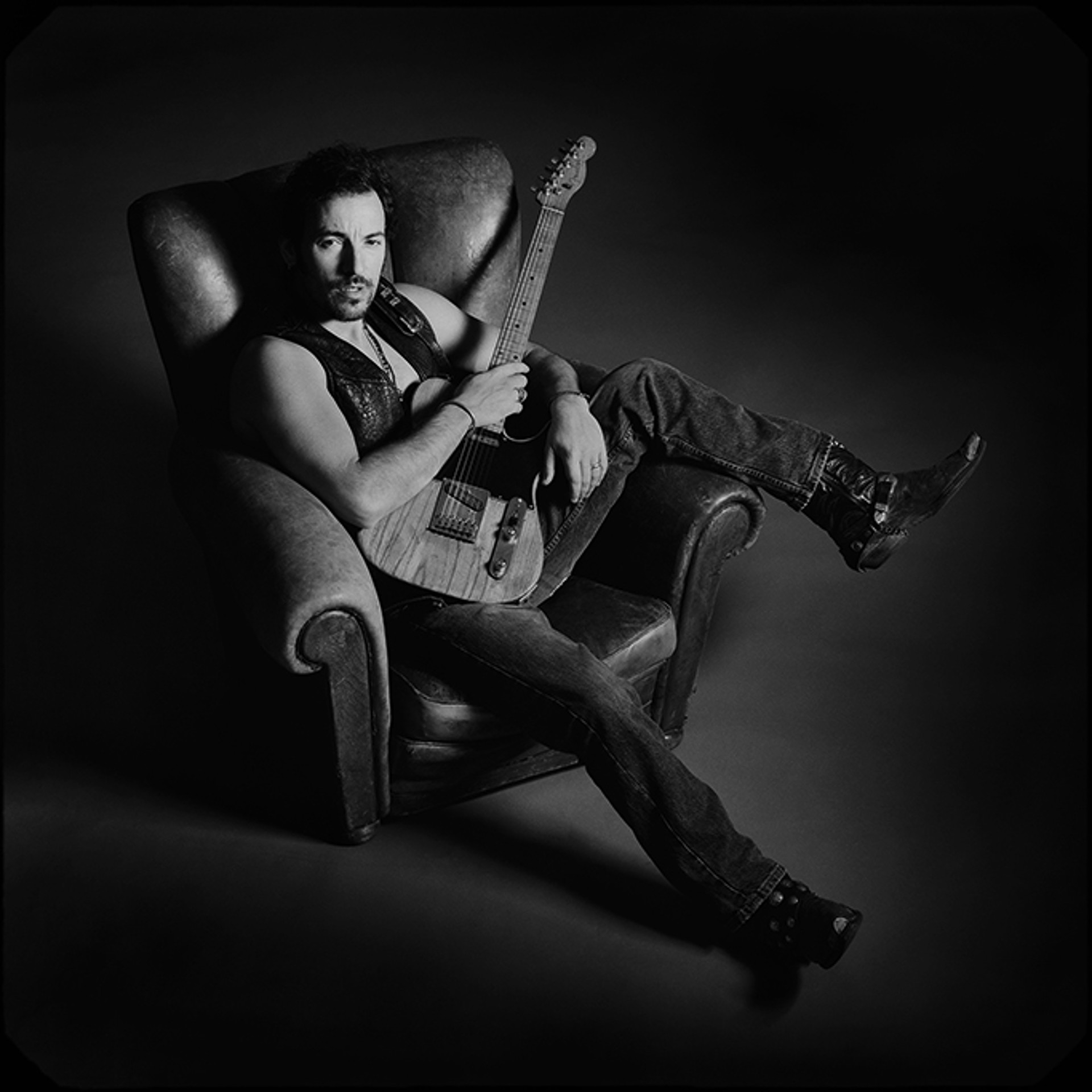 91152 Bruce Springsteen In Chair Polaroid F22 BW by Timothy White