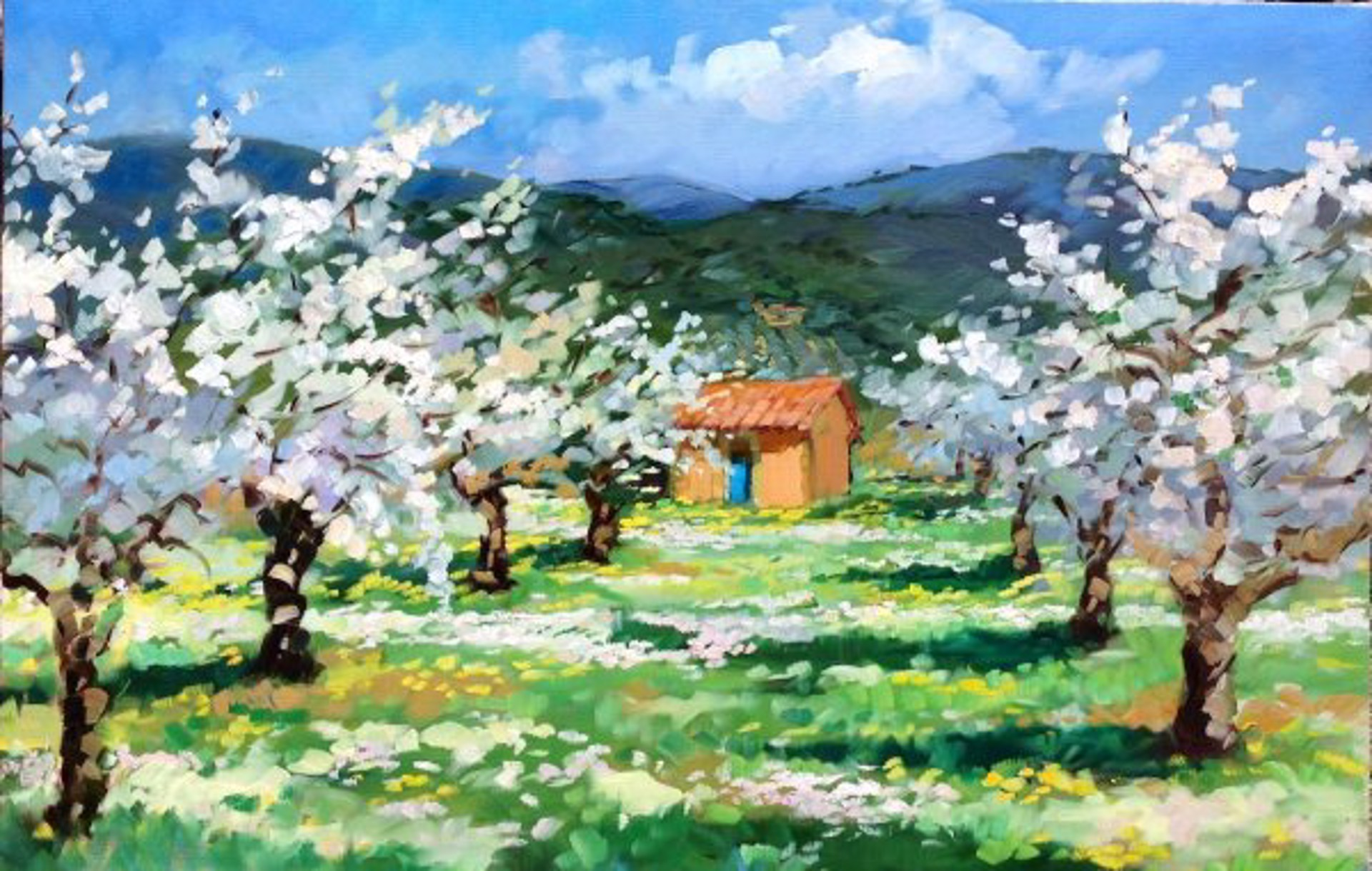Cherry Tree Blossoms In Provence (Giclee On Canvas) by Maria Bertrán