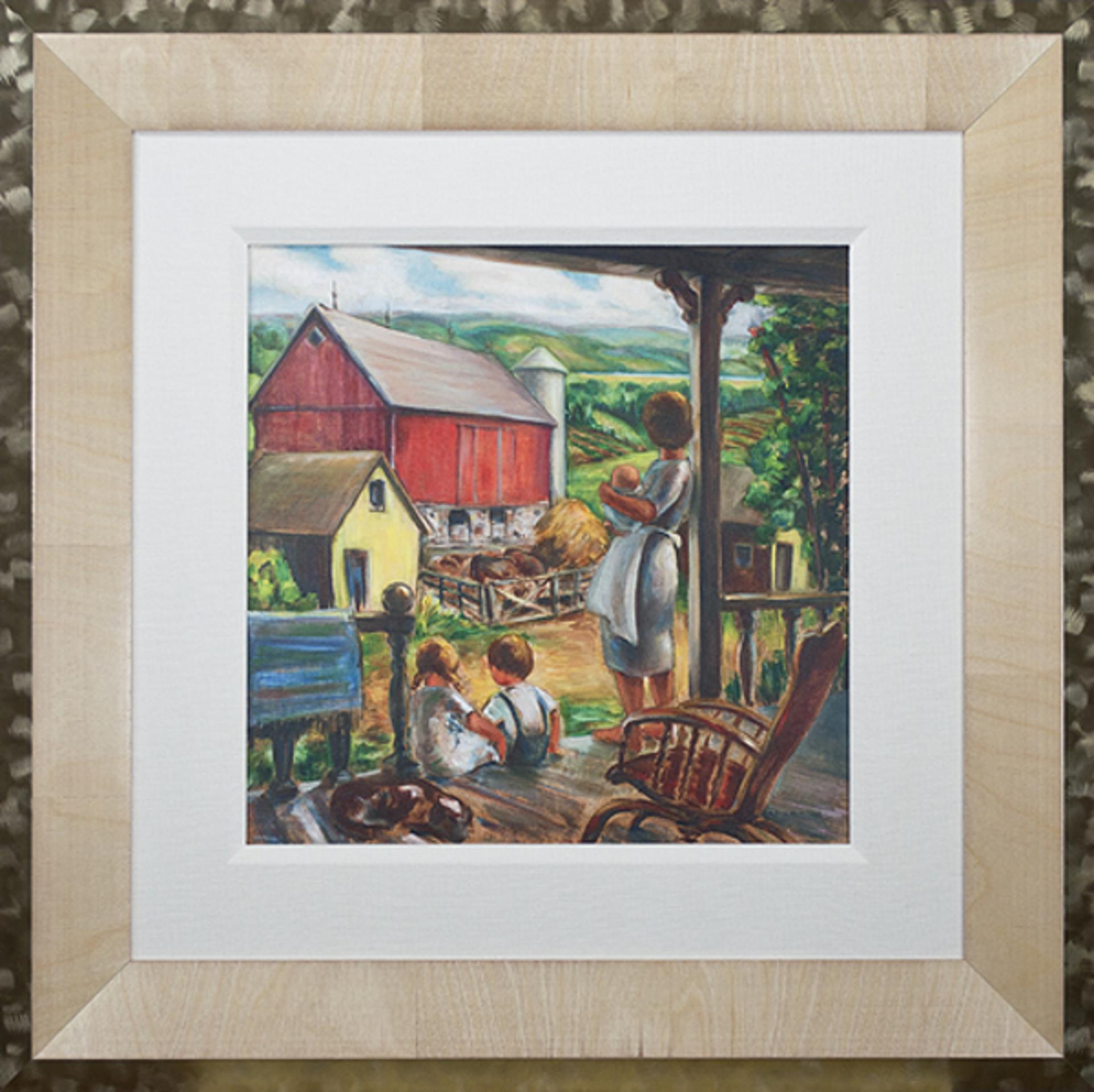 Farm Scene: Farmer's Wife With Children - Big Cedar Lake by Sylvia Spicuzza