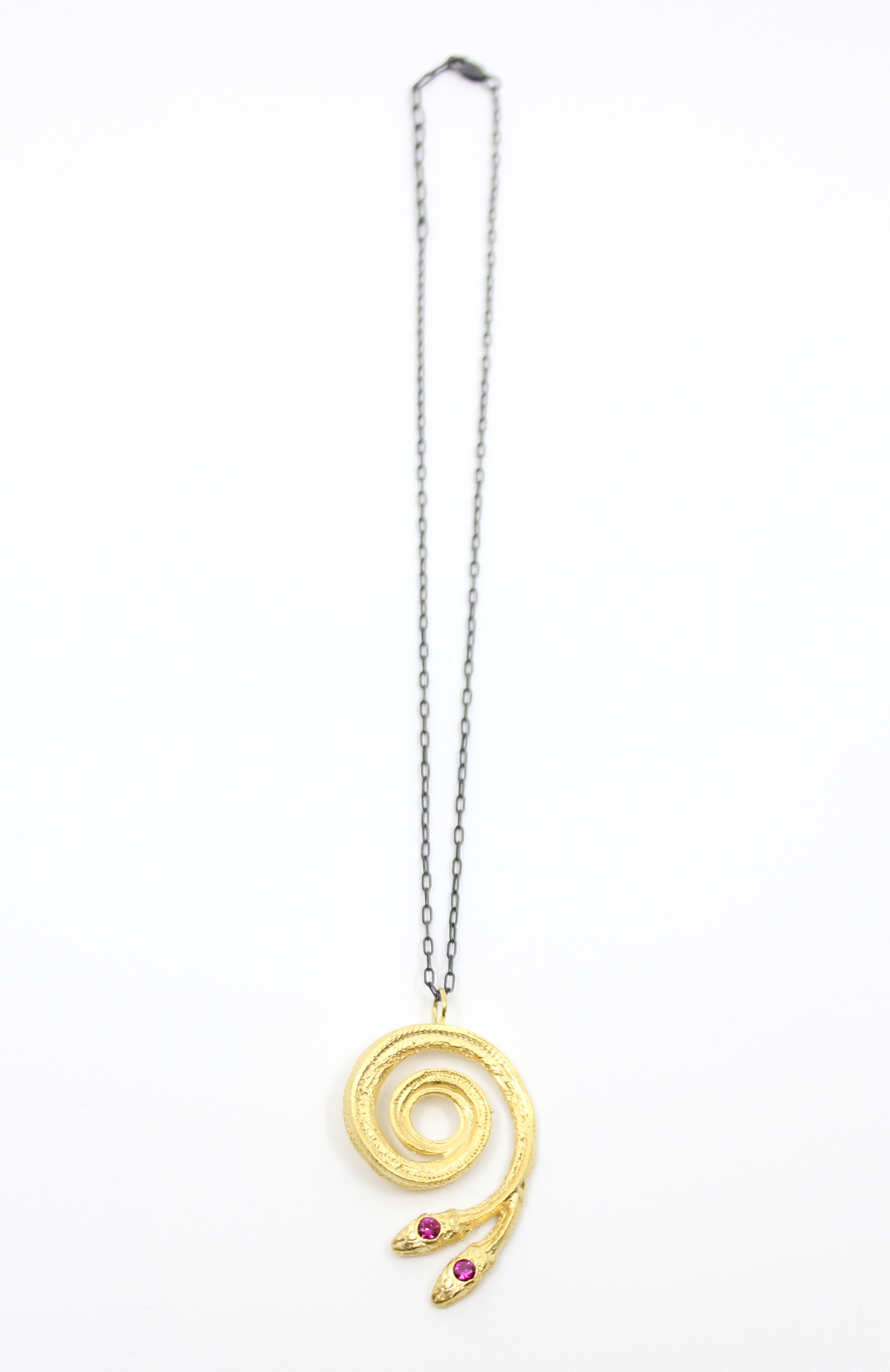 Gold Double-Headed Serpentine Necklace by Anna Johnson