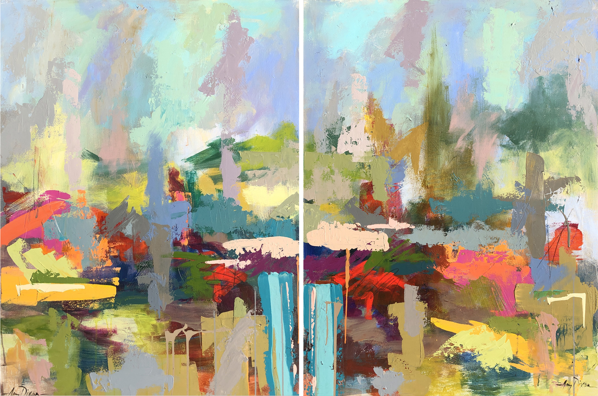 One Minute Vacation (Diptych) by Amy Dixon