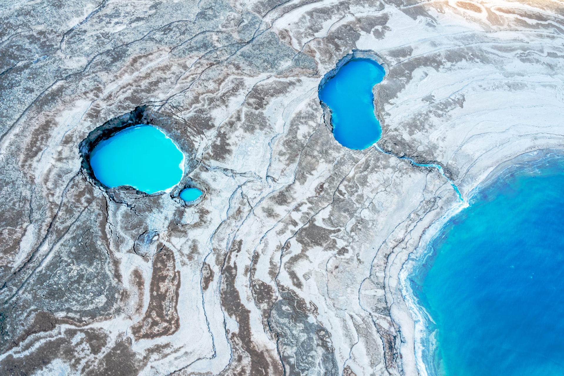 Moonlanding-Dead Sea Israel  Photograph from Helicopter by Dinesh Boaz