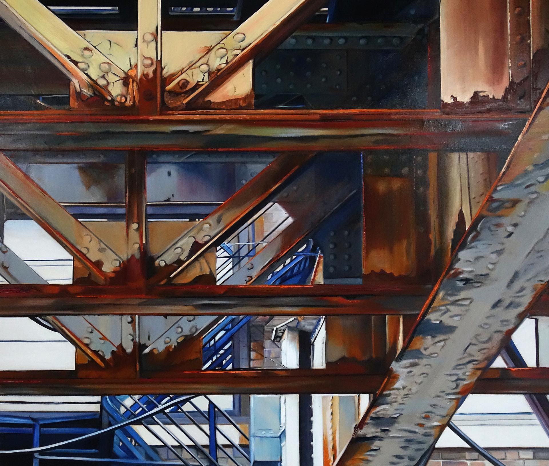 Blue Stairs Under the El by Allan Gorman