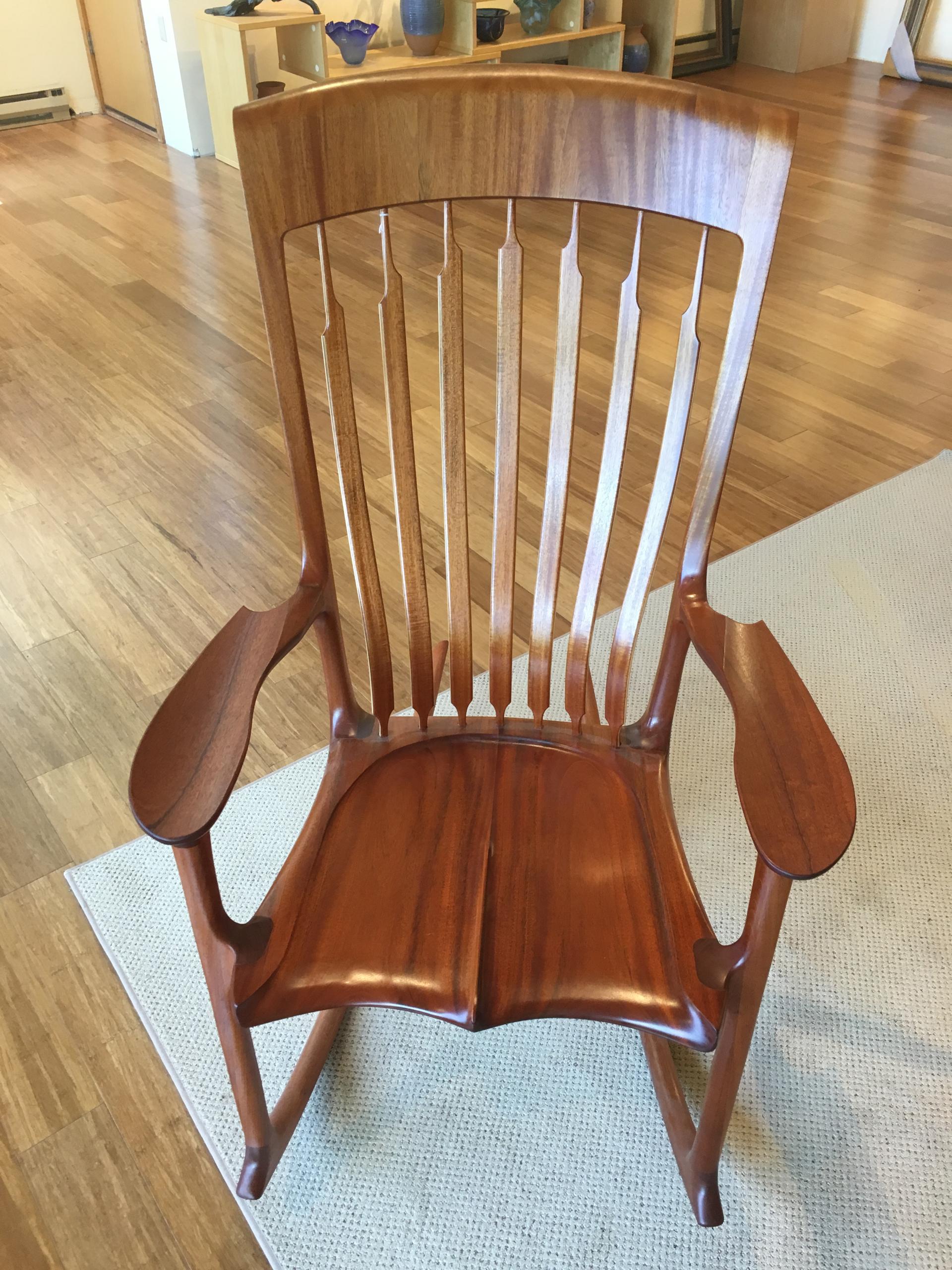 Myrtle Wood Rocker Rocking Chair by Jim Norris