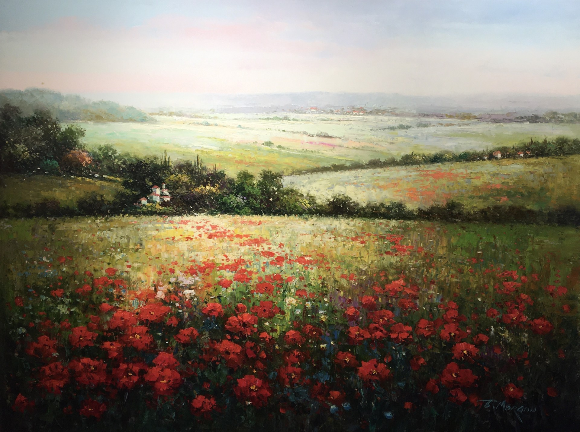 POPPIES BY THE VILLA (VILLAGE DISTANT) by J MORGAN