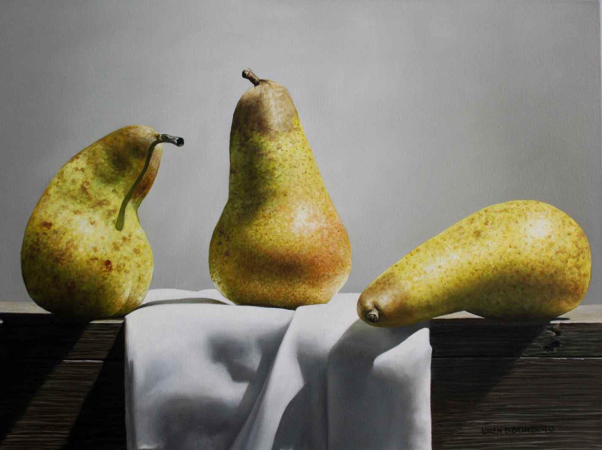 Pears On Folded Cloth by Loren DiBenedetto