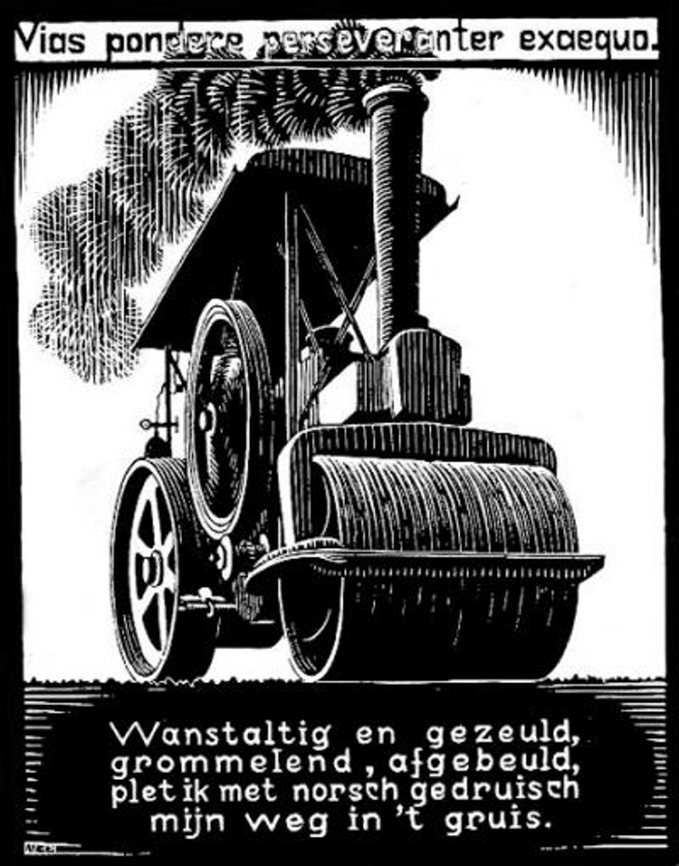 Emblemata - Steamroller by M.C. Escher