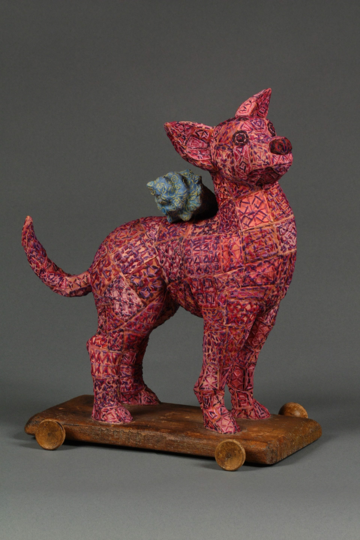 Pink Dog Pull Toy by Martha Shade
