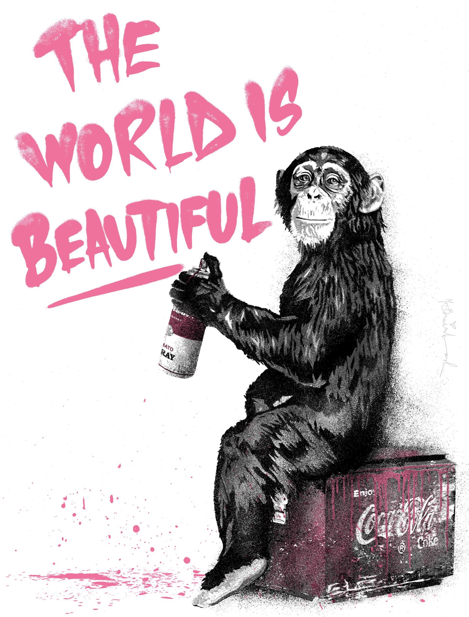 The World Is Beautiful - Pink by Mr. Brainwash (b. 1966)