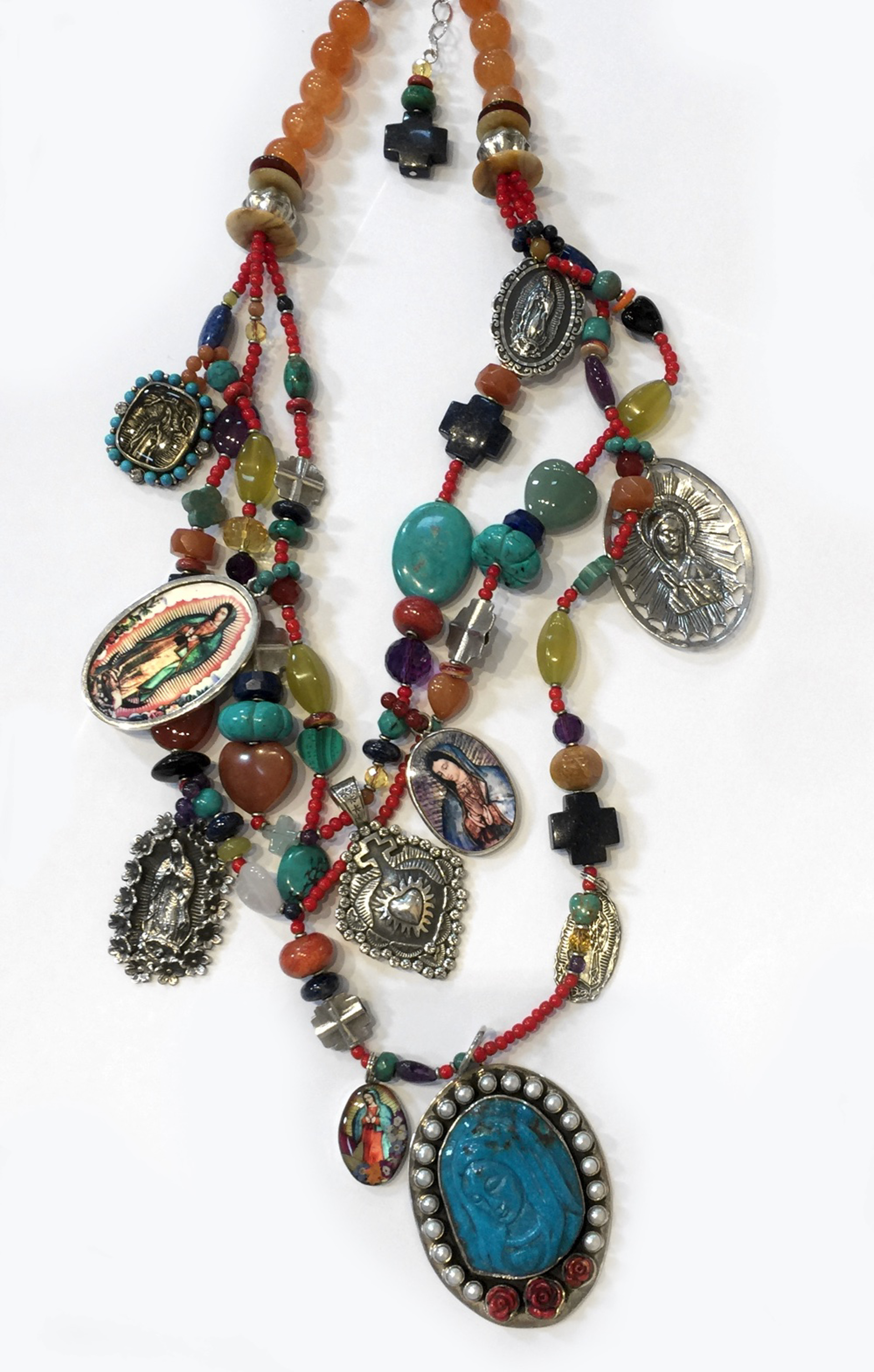 KY 1331 - 3 Strand necklace - Turquoise guadalupes, sombreros, Rusts, yellows by Kim Yubeta