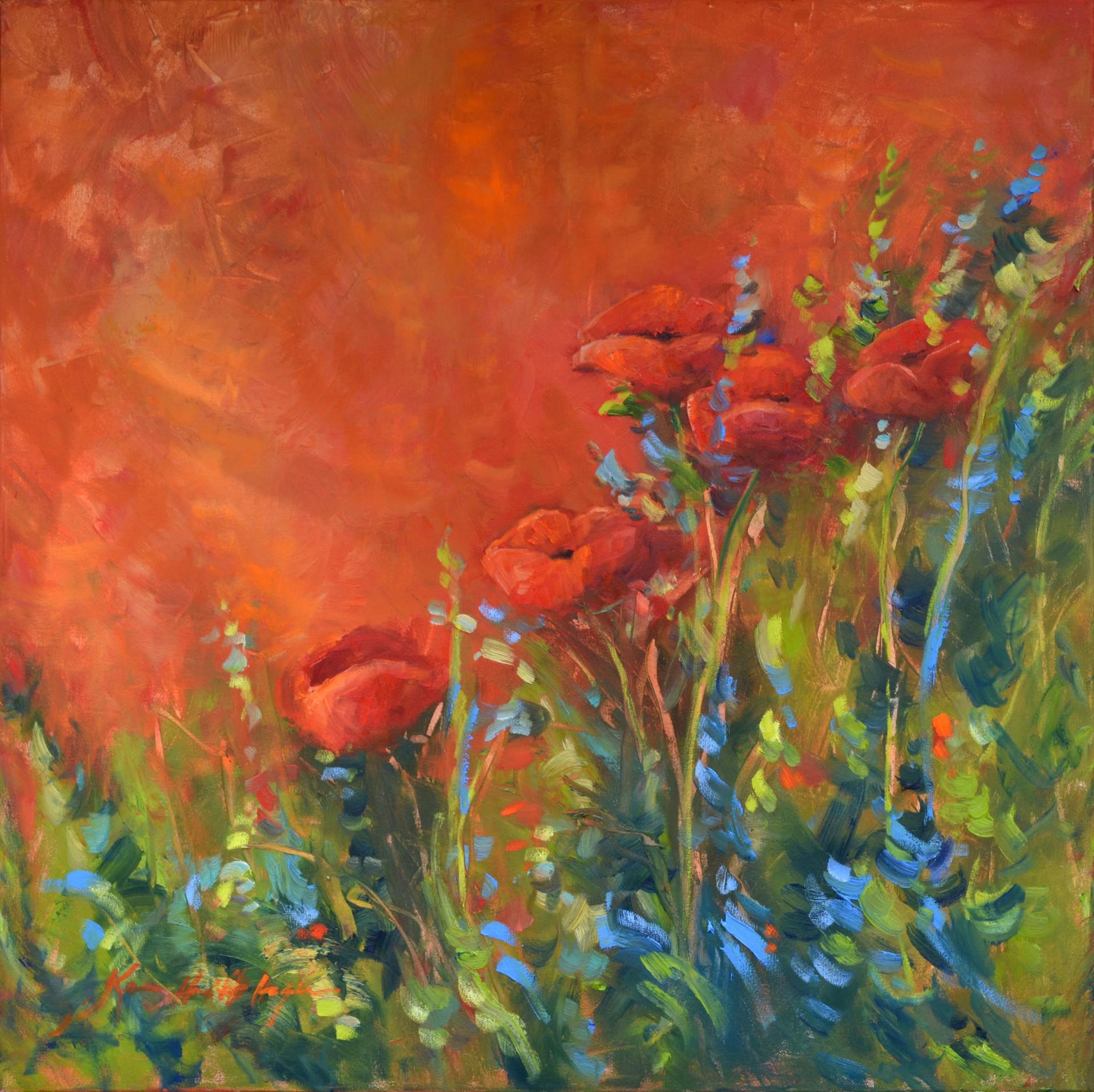 Full Bloom Italian Poppies by Karen Hewitt Hagan