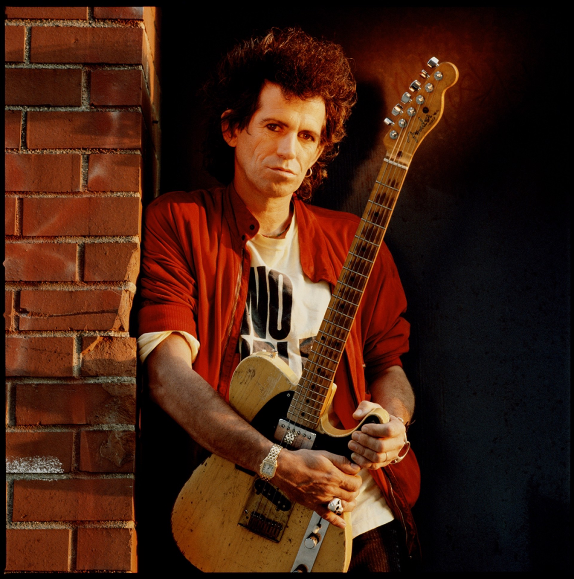 88146 Keith Richards Leaning Against Brick Wall Color by Timothy White
