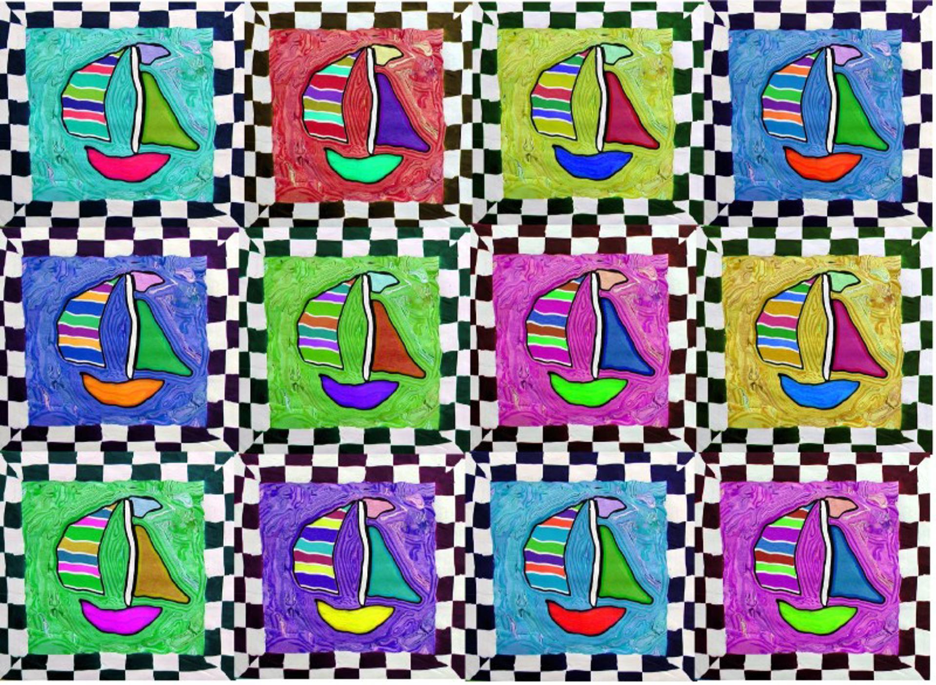 Twelve sailboats by Samantha Long - Prints