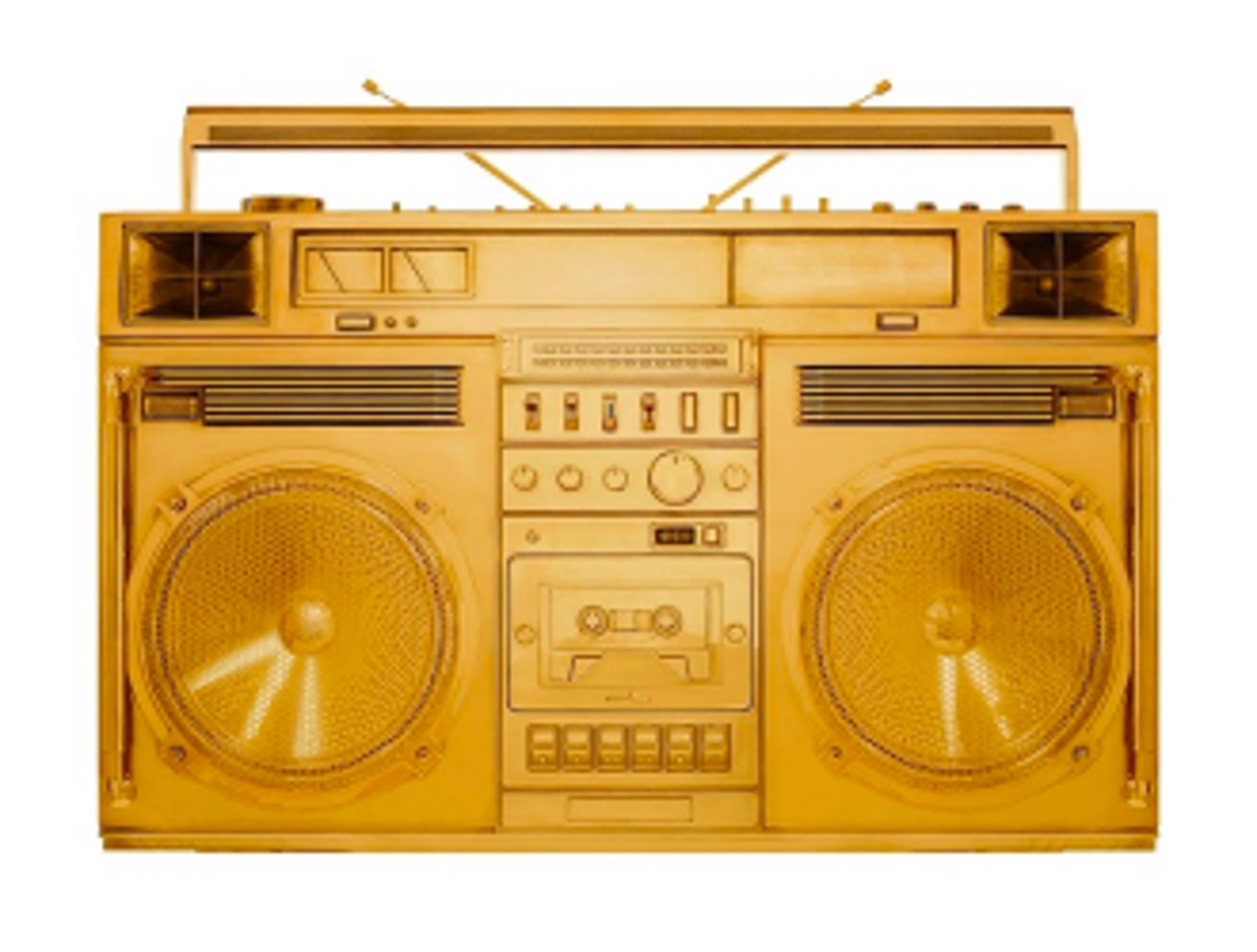 Boombox Sculpture series Size D, Gold by Lyle Owerko