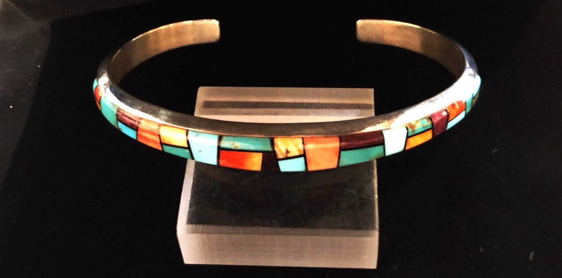 Billy Long Sterling Silver Multi-Stone Inlay Cuff