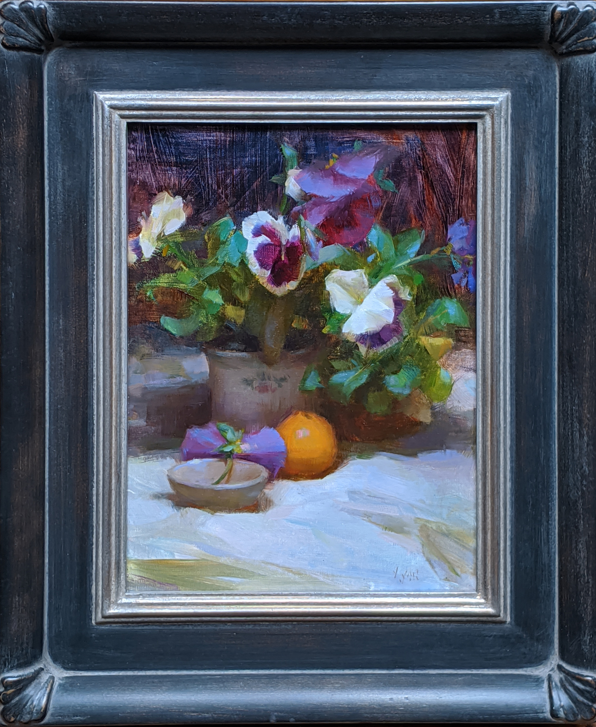 Mini Orange and Pansies by Susan Lyon