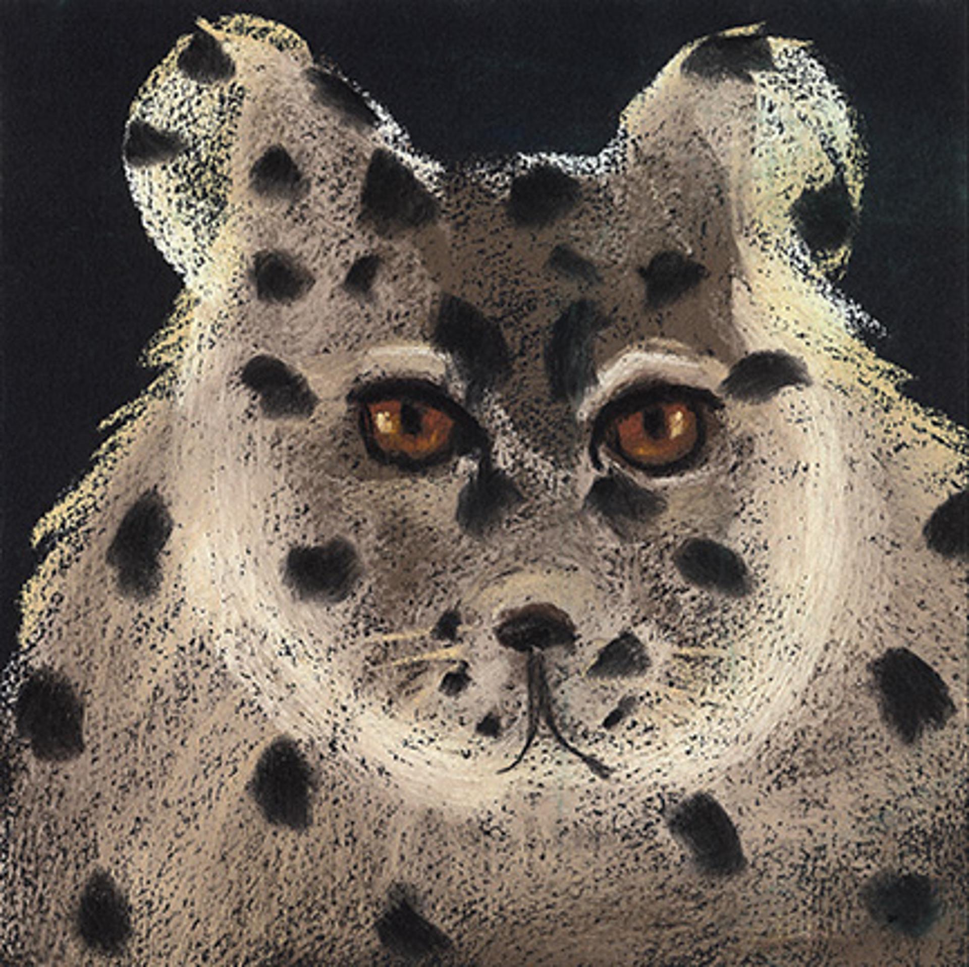 """SNOW LEOPARD - limited edition giclee on paper w/frame size of 21""""x21"""" by Carole LaRoche"""