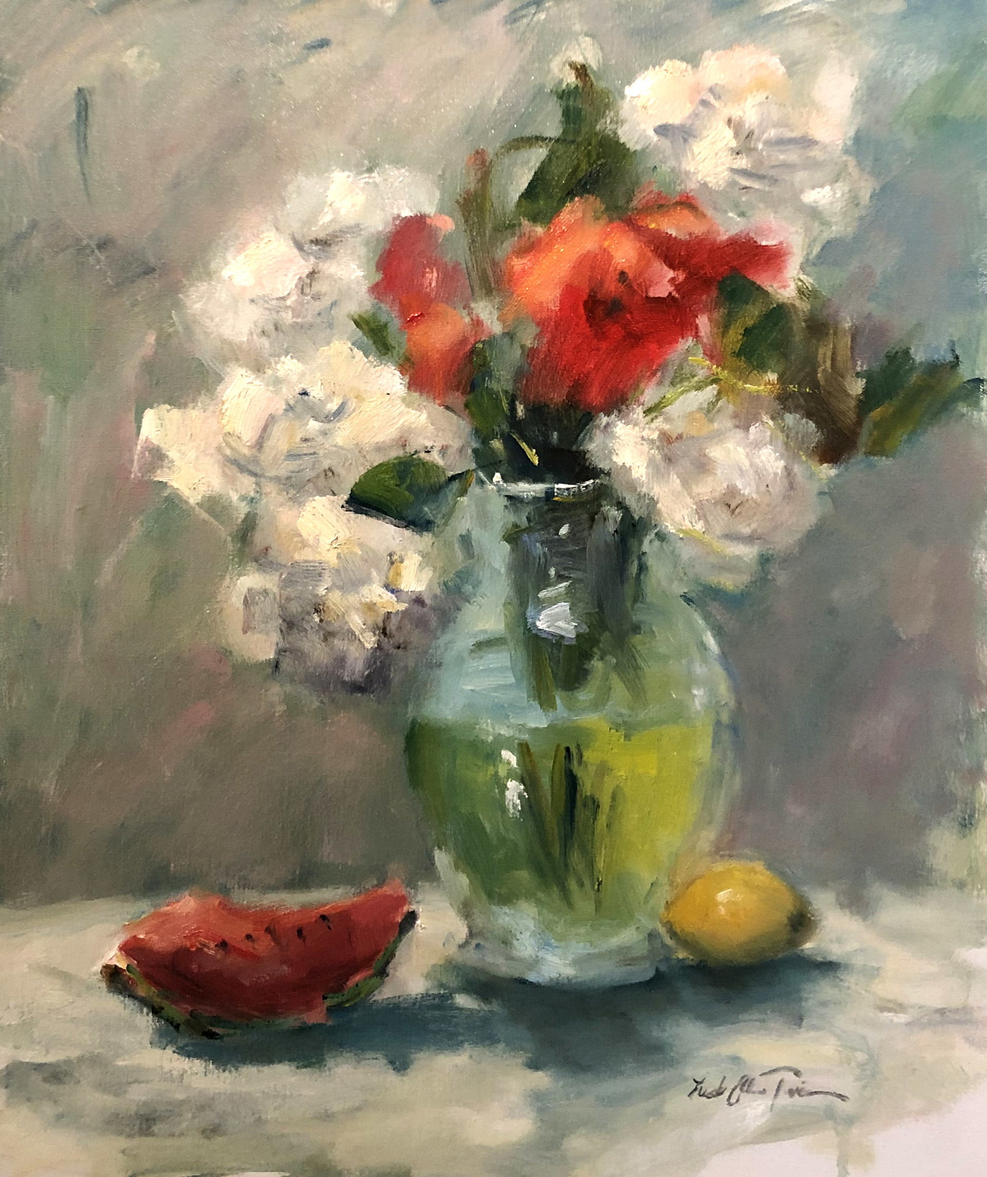 Flowers and Watermelon by Linda Ellen Price