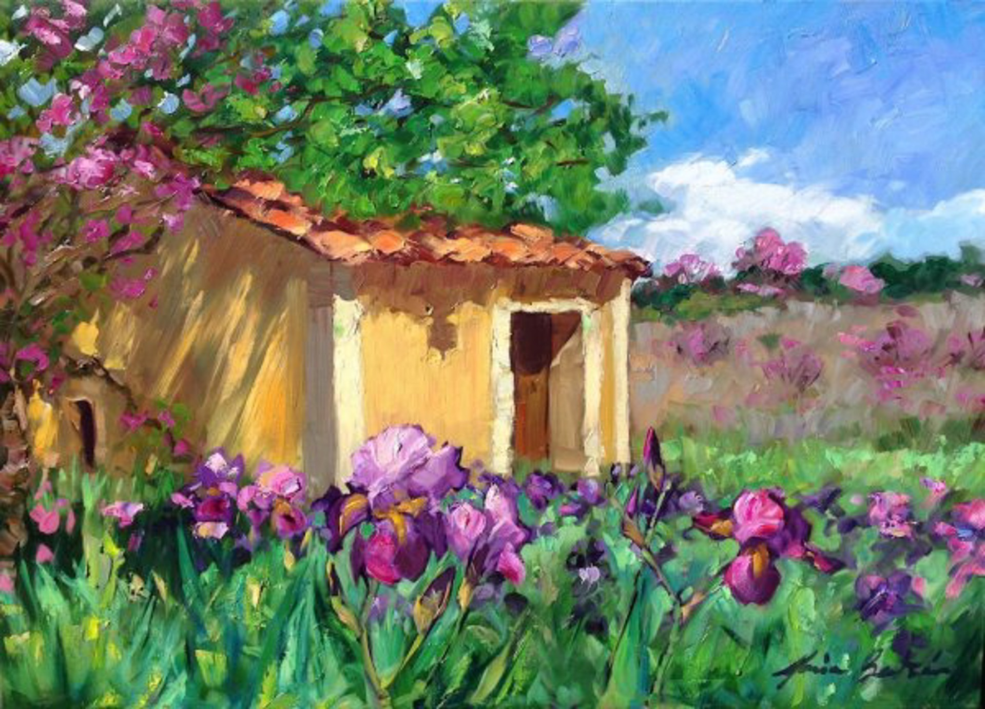 Irises By The Old Cabanon by Maria Bertrán