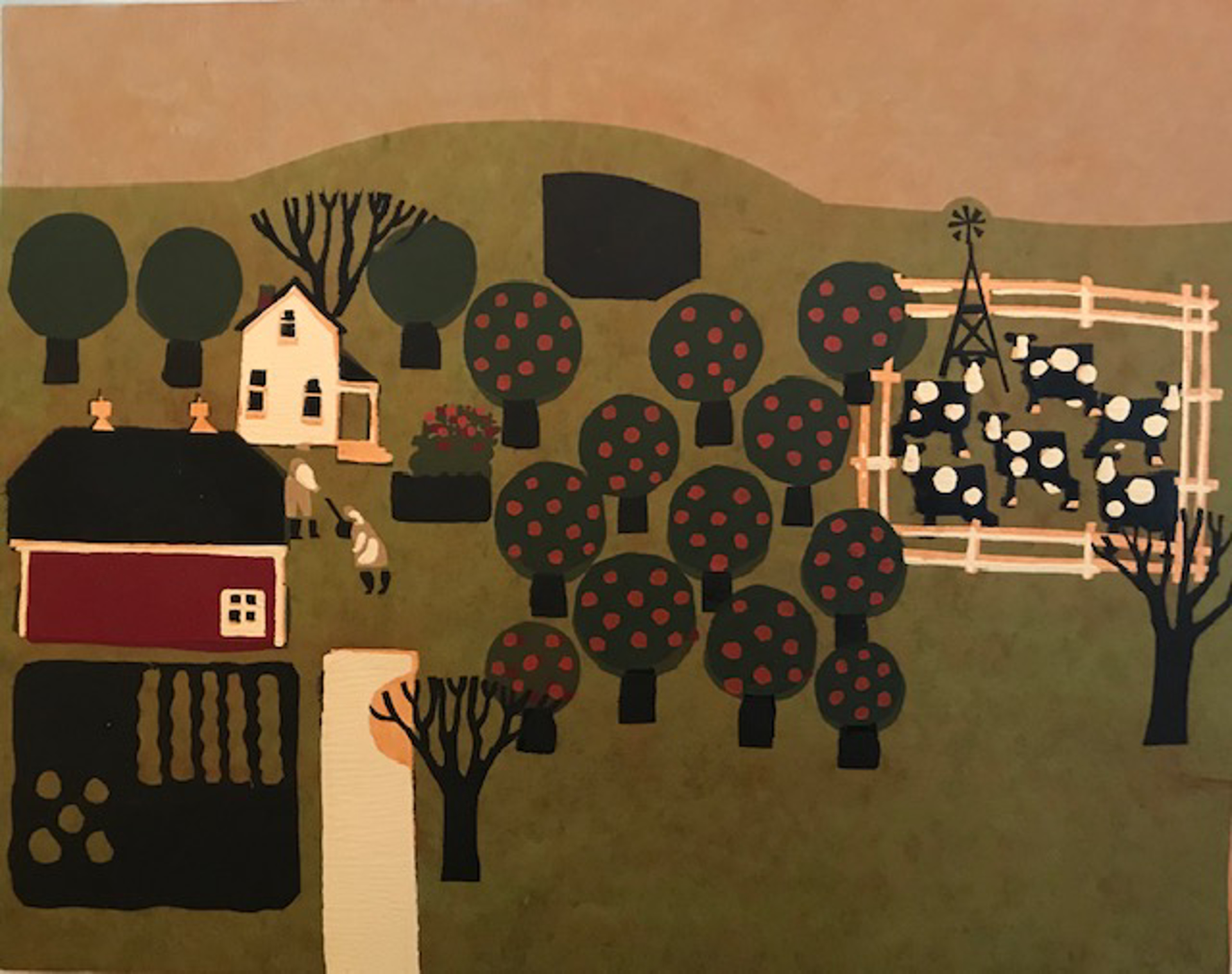 Small Green Landscape with Apple Trees by Judith Welk