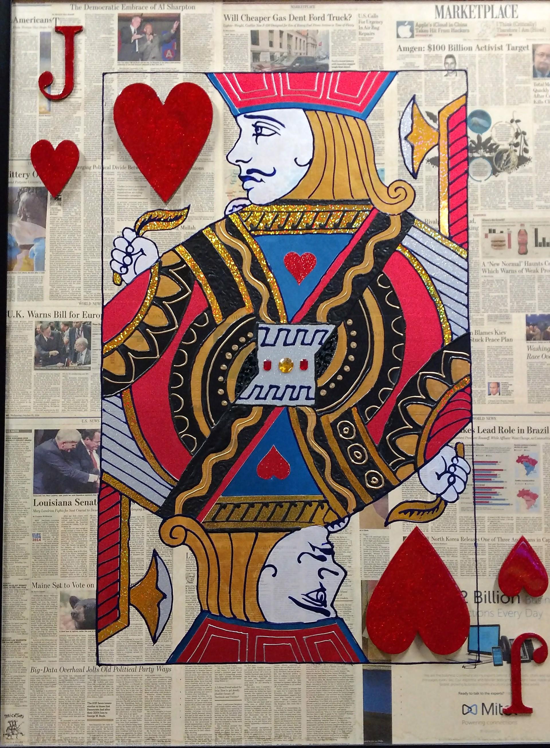 """Jack of Hearts"" Poker Cards On Wall Street Journal by Elena Bulatova"