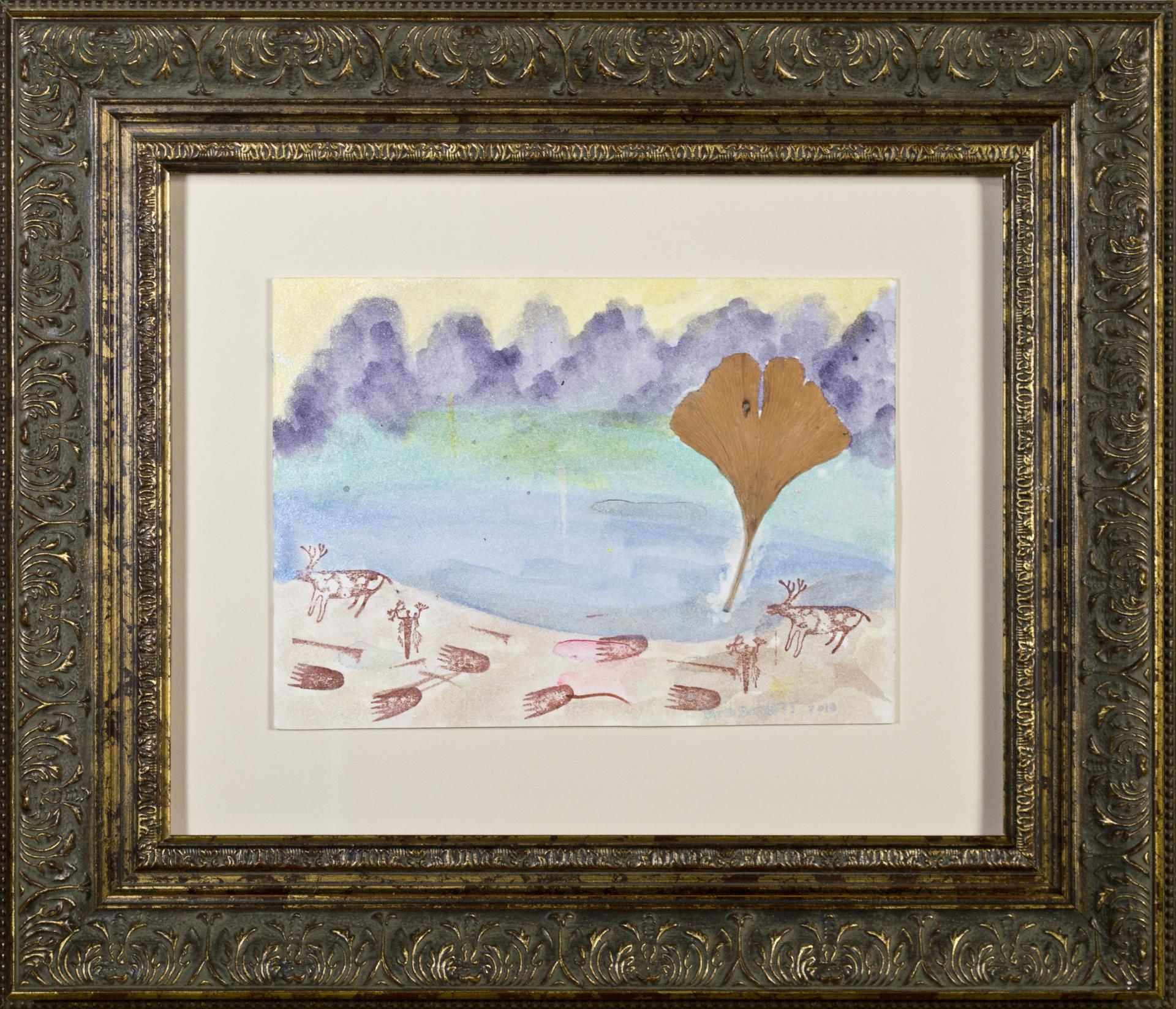 Oasis with Reindeer, Shaman & Bear Tracks by David Barnett