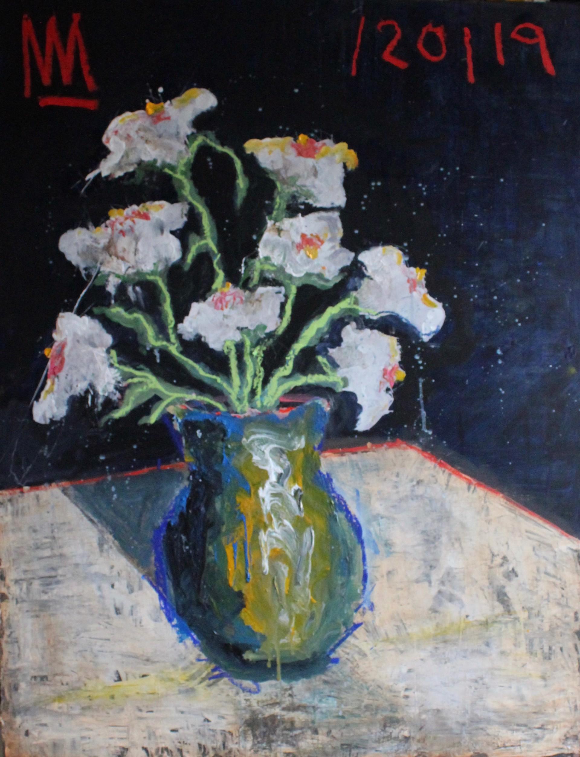 Matilija Poppies in Blue Vase by Michael Snodgrass