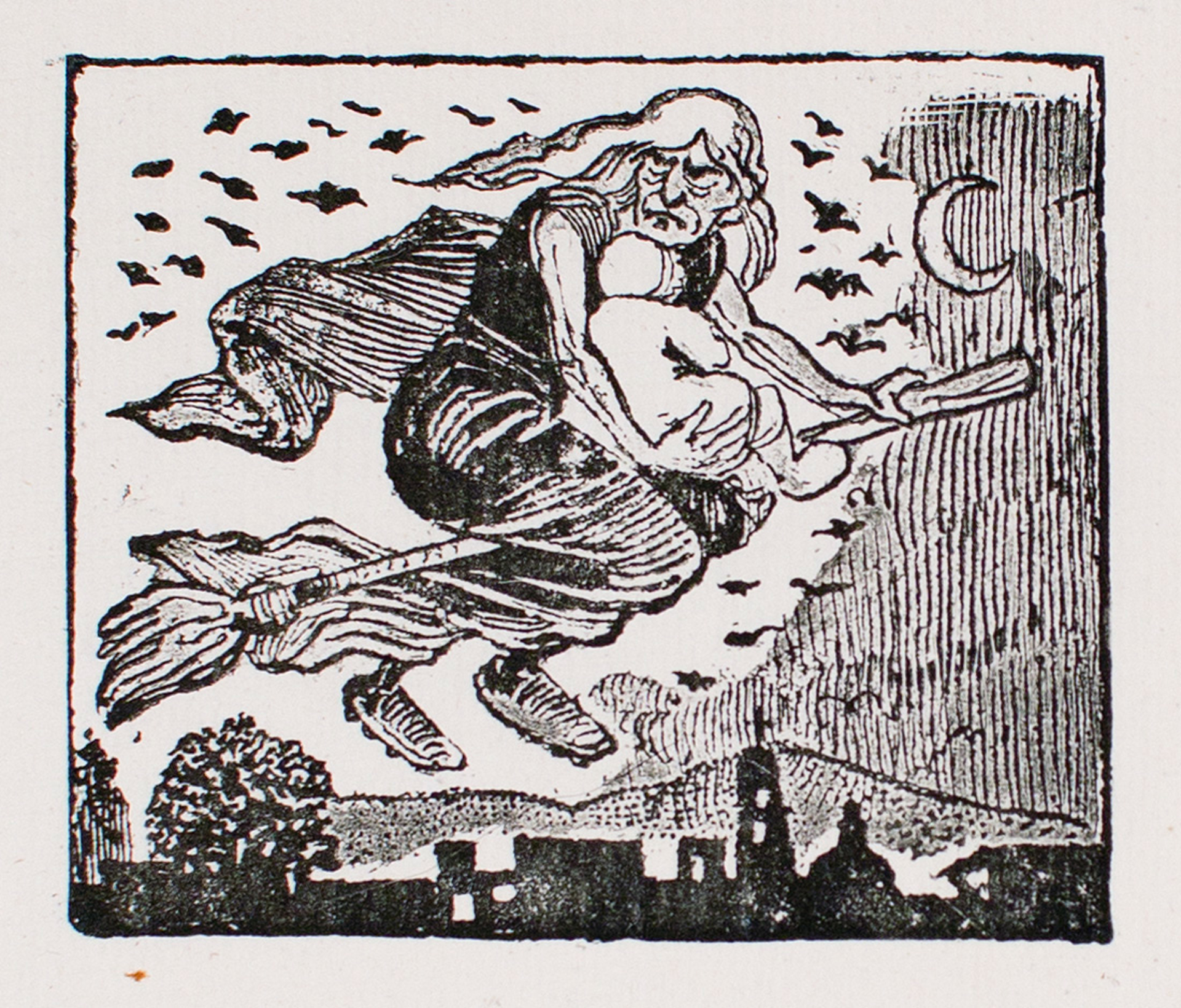 A witch carrying a child on her broom by José Guadalupe Posada (1852 - 1913)