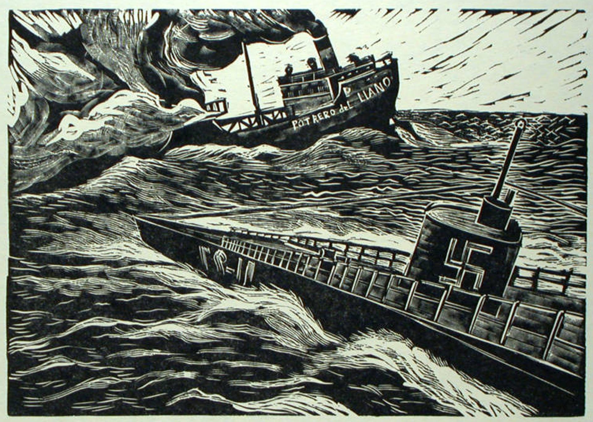 """El Hundimiento del """"Potrero del Llano"""" por los Nazis, en Mayo de 1942 by Ignacio Aguirre (1900 – 1990)"""