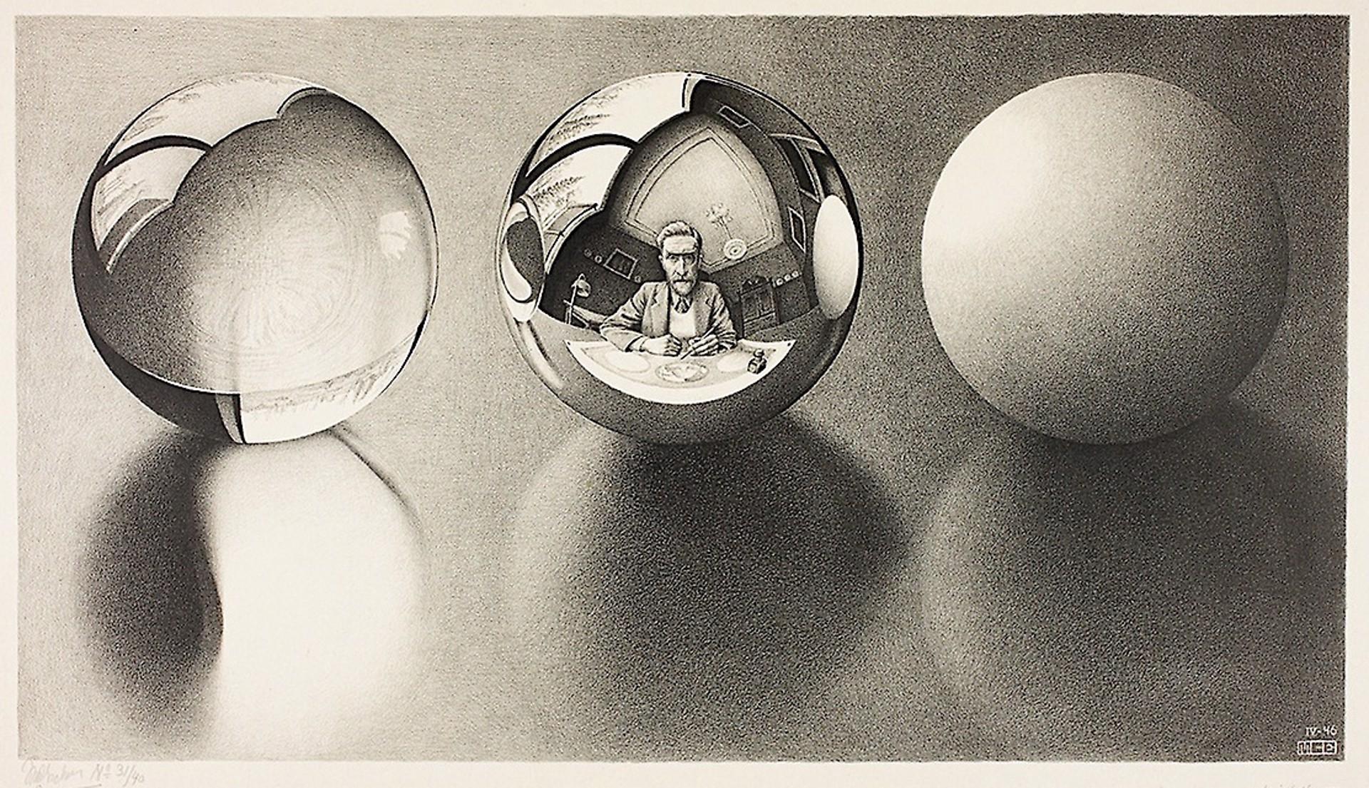Three Spheres II by M.C. Escher