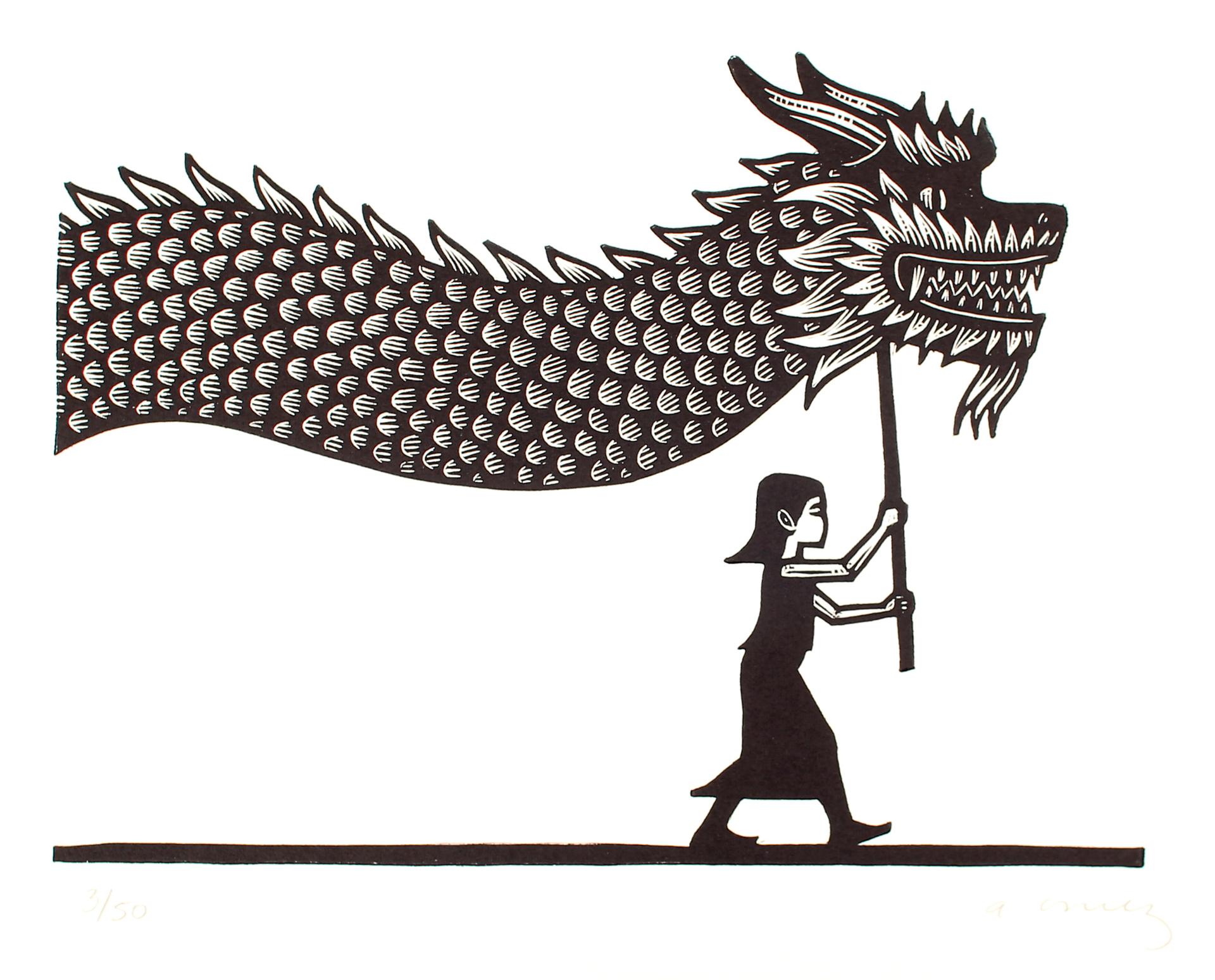 Niña con Dragon by Alberto Cruz