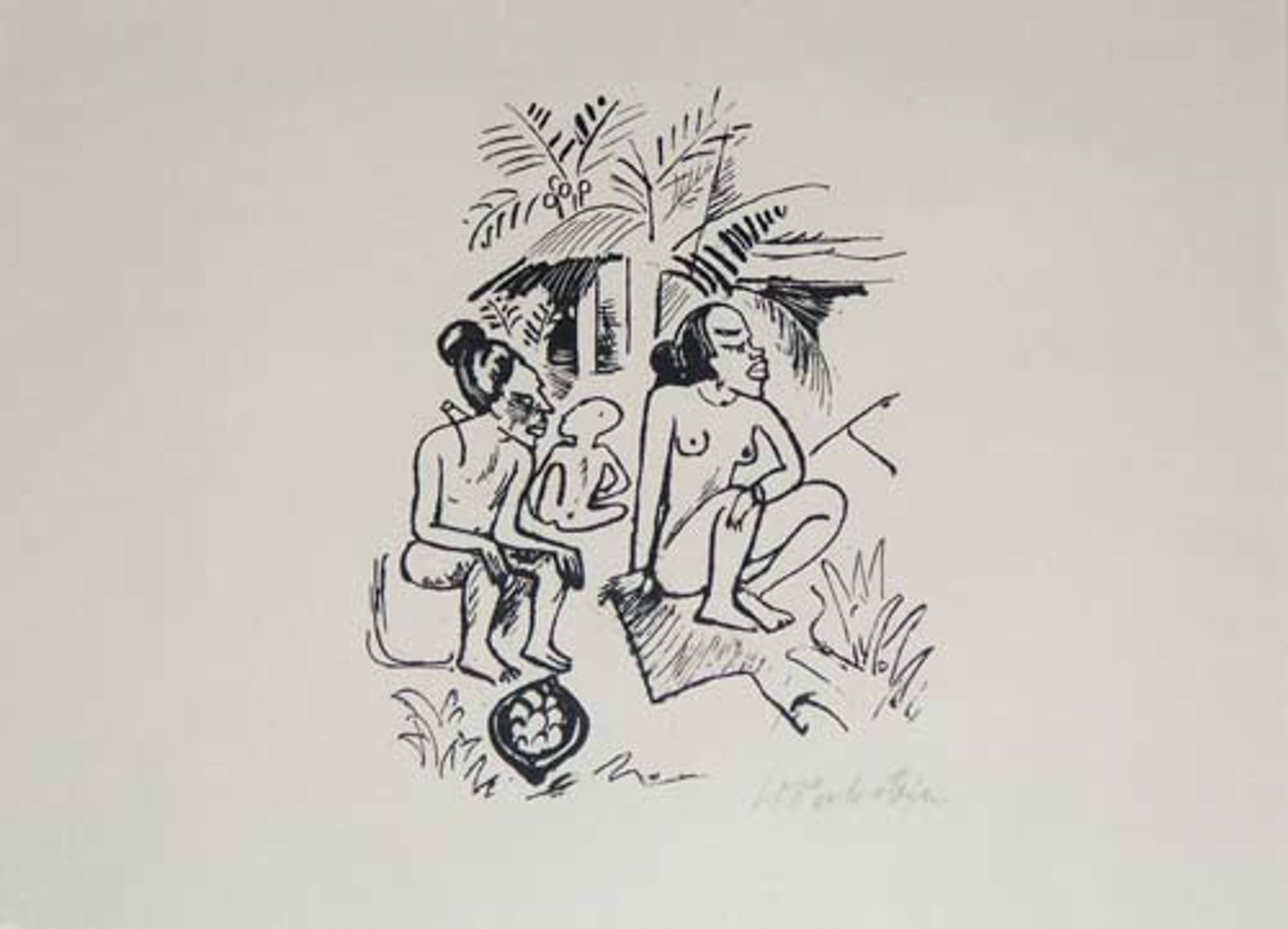 South Sea (Sudsee) Series: Three Seated Figures-Women (Frauen), Cat. Ref.  Gunter Kruger L343, Reisebilder 37 (page 258) by Max Pechstein