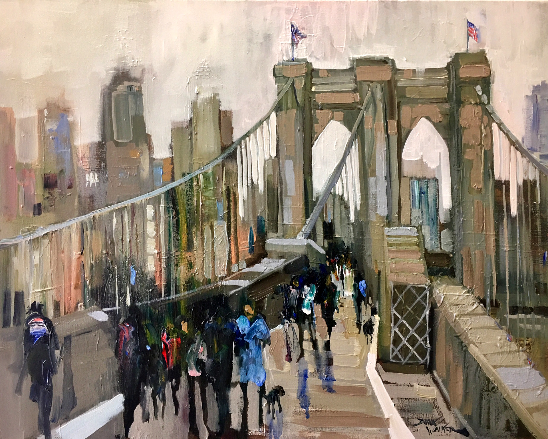 Wintry Day on the Brooklyn Bridge by Dirk Walker