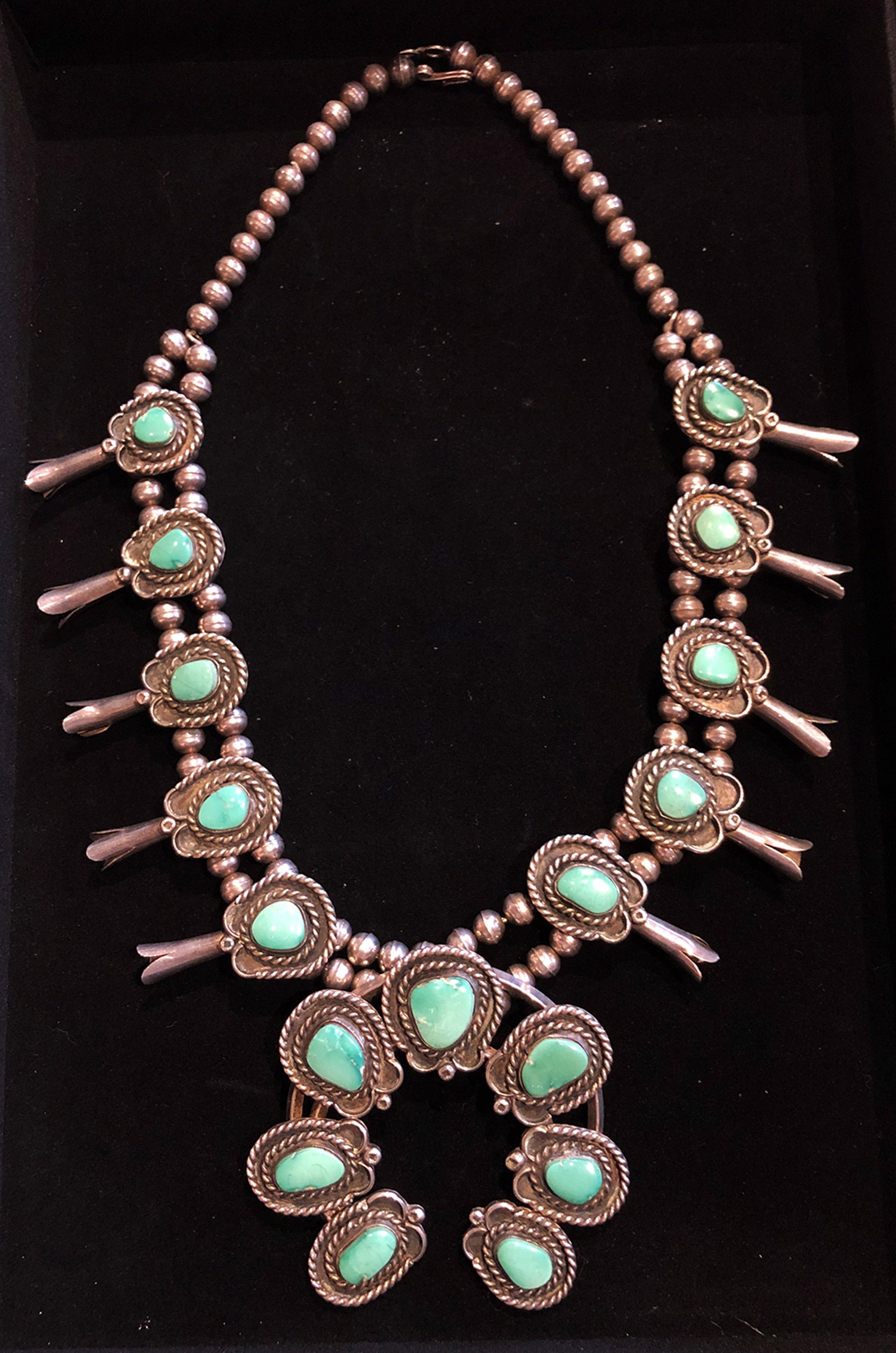 Vintage Navajo Handmade Native American Sterling Silver & Turquoise Squash Blossom Necklace